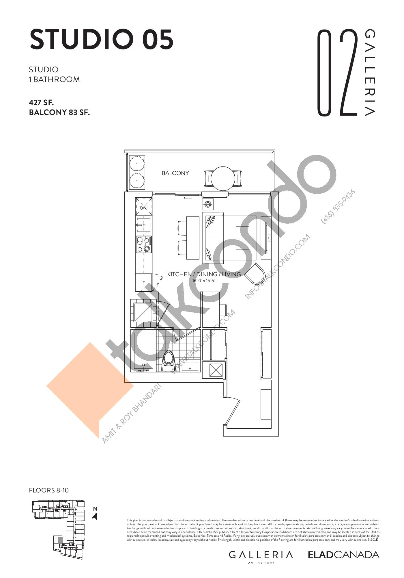 Studio 05 Floor Plan at Galleria 02 Condos - 427 sq.ft