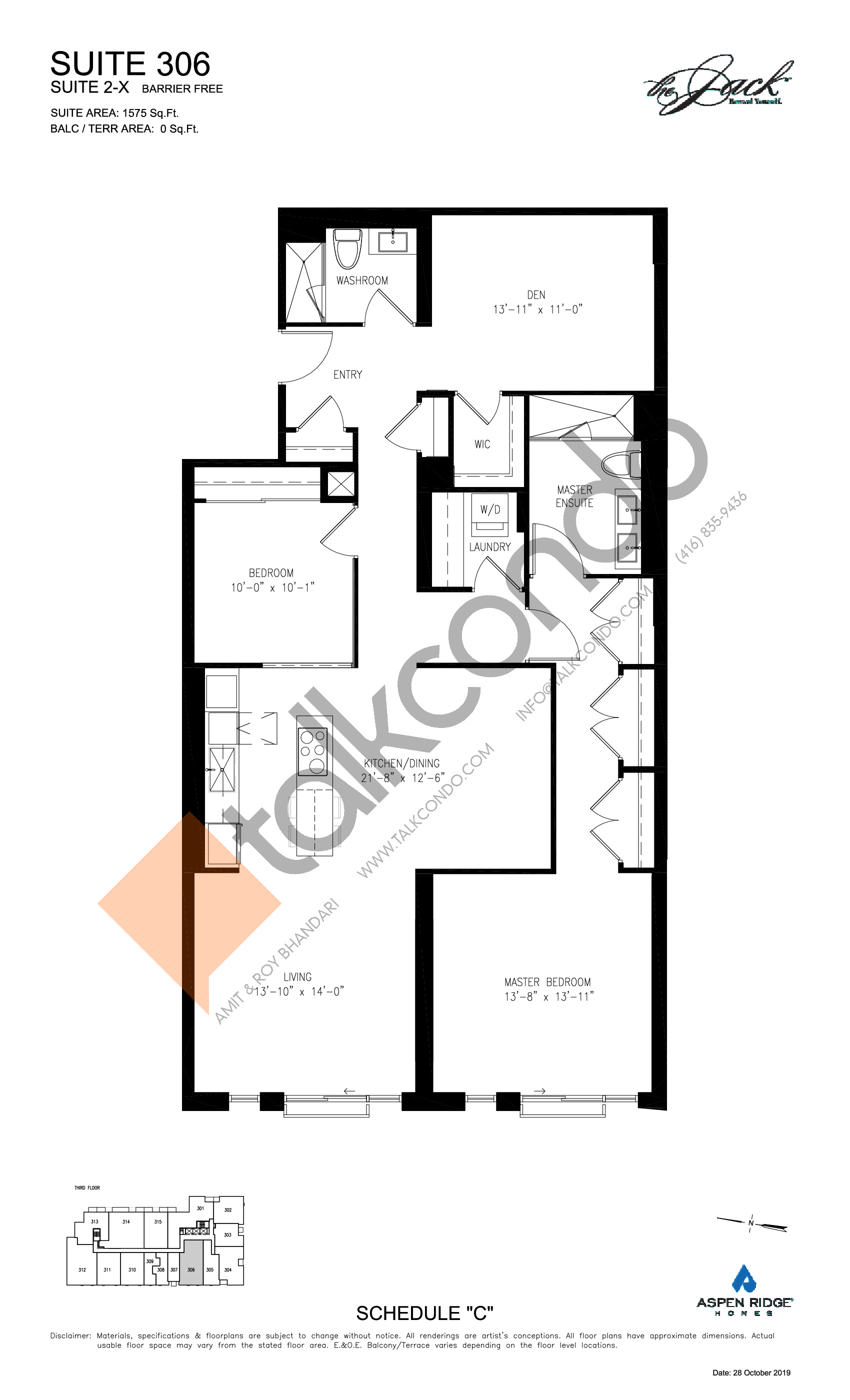 Suite 306 Floor Plan at The Jack Condos - 1575 sq.ft