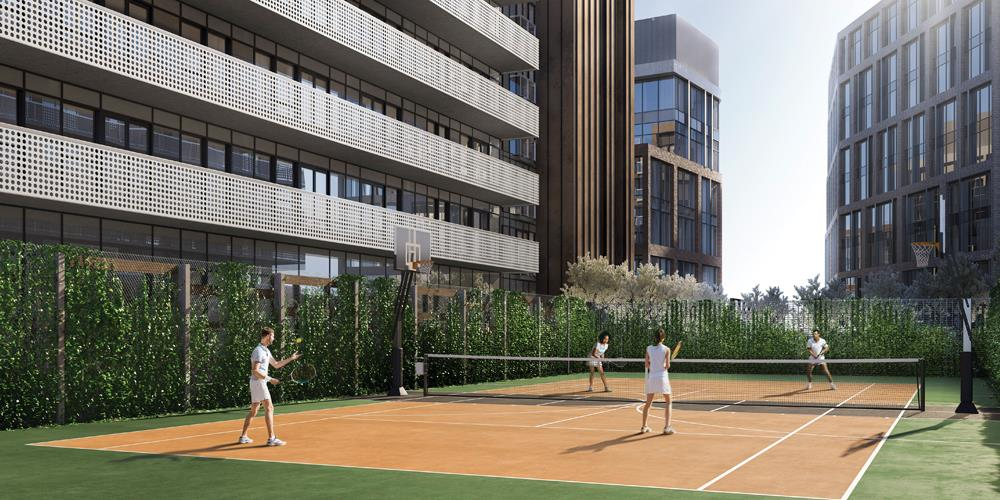 Lighthouse Condos East Tower Tennis and Basketball Court
