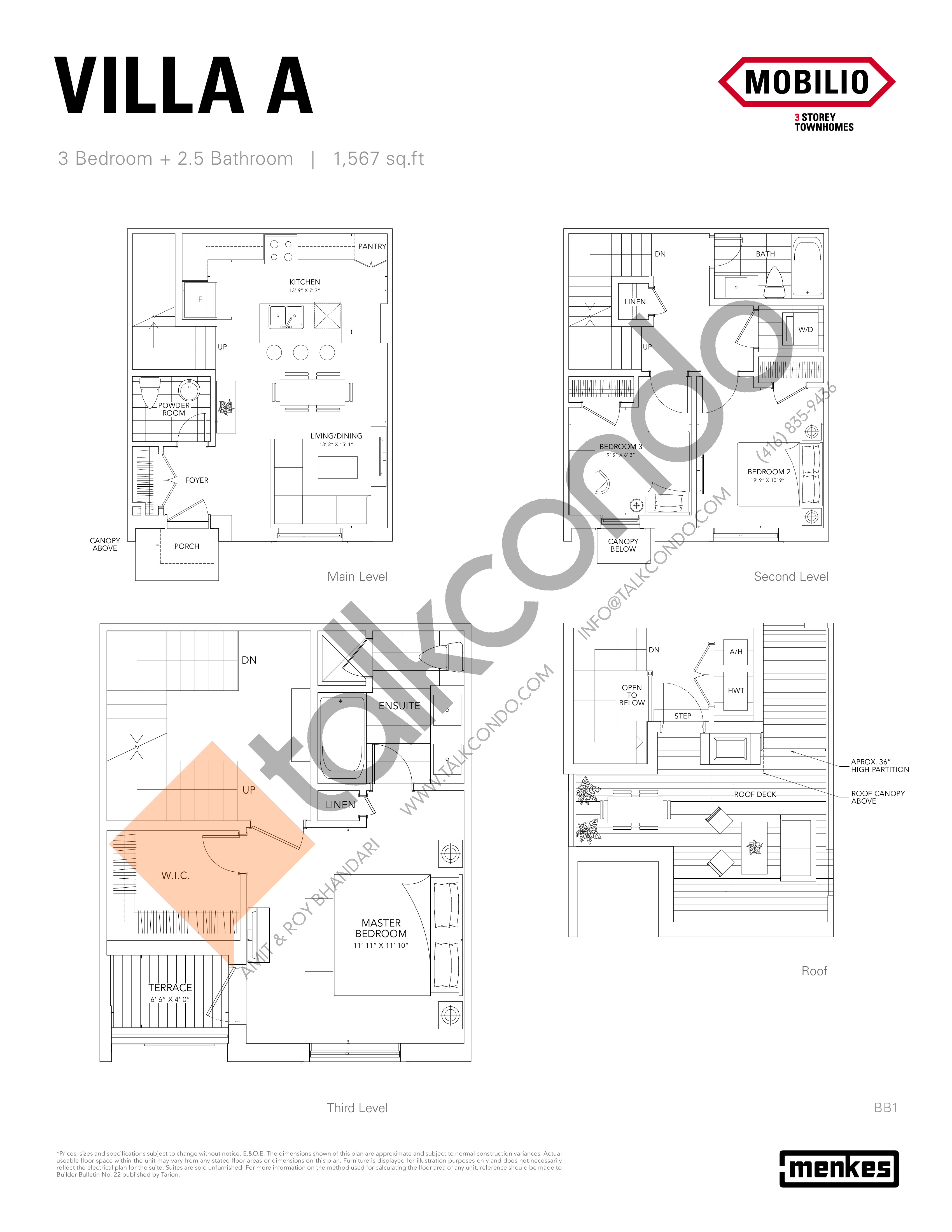 Villa A Floor Plan at Mobilio Townhomes - 1567 sq.ft