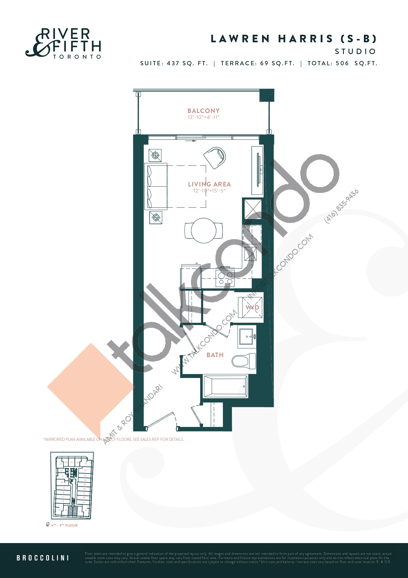 Lawren Harris (S-B) Floor Plan at River & Fifth Condos - 437 sq.ft