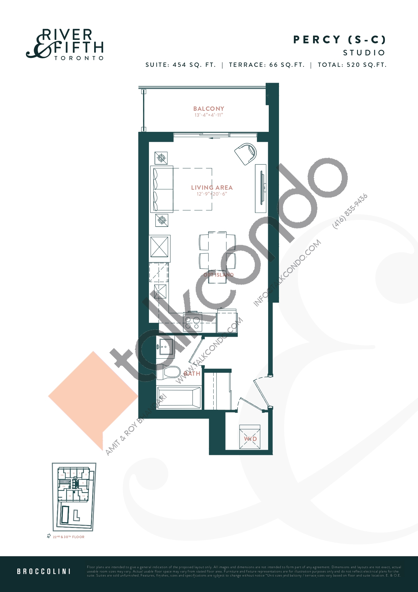 Percy (S-C) Floor Plan at River & Fifth Condos - 454 sq.ft