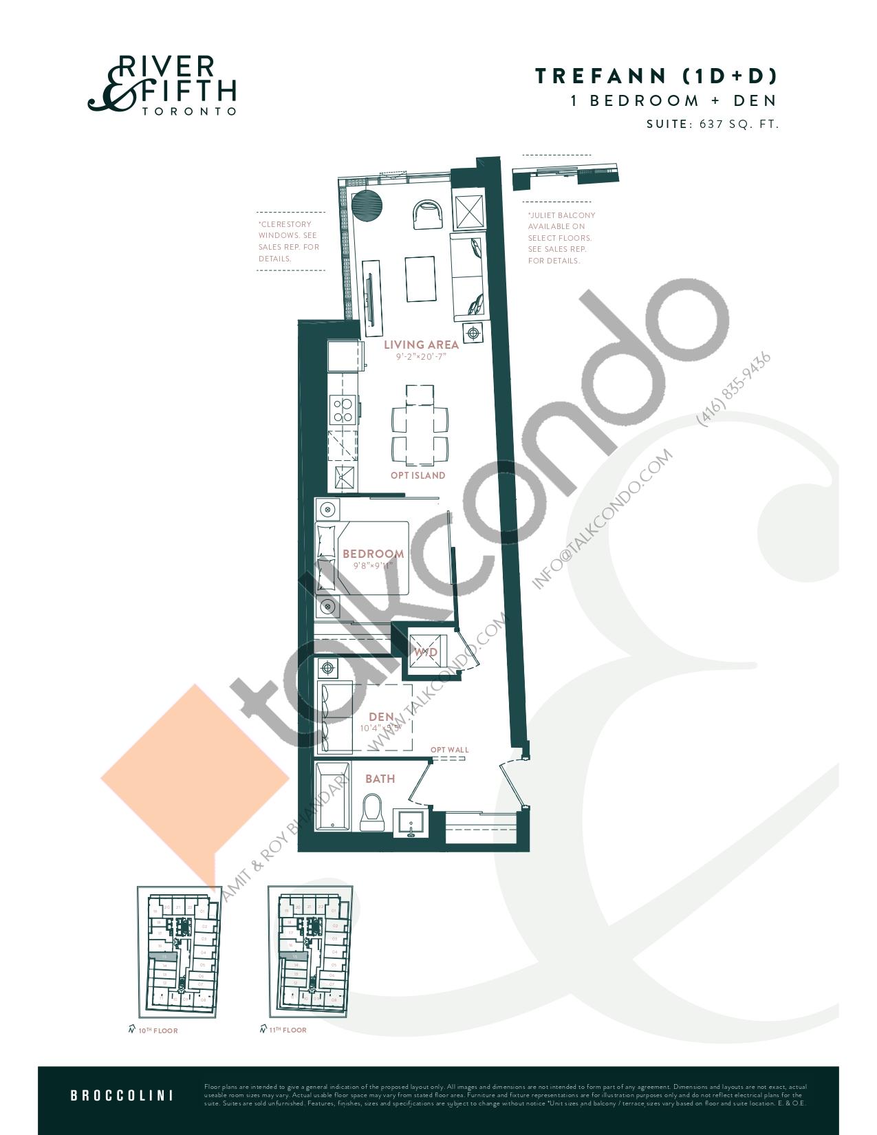 Trefann (1D+D) Floor Plan at River & Fifth Condos - 637 sq.ft