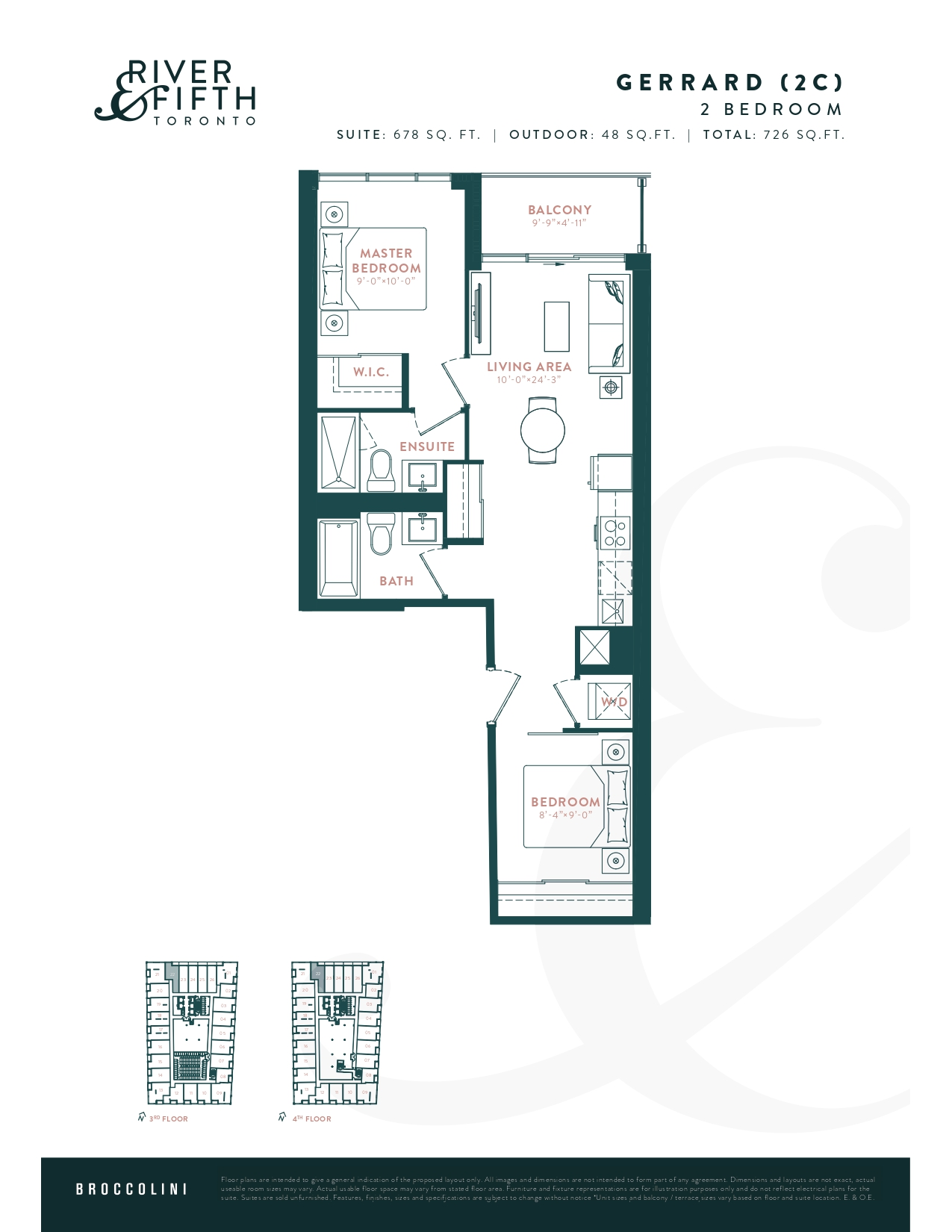 Gerrard (2C) Floor Plan at River & Fifth Condos - 678 sq.ft