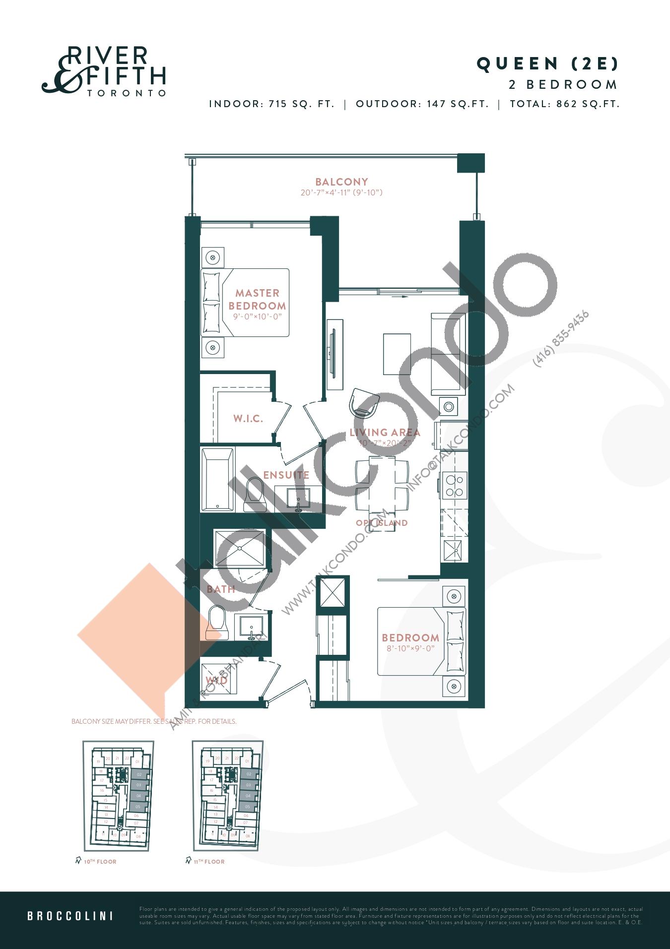 Queen (2E) Floor Plan at River & Fifth Condos - 715 sq.ft