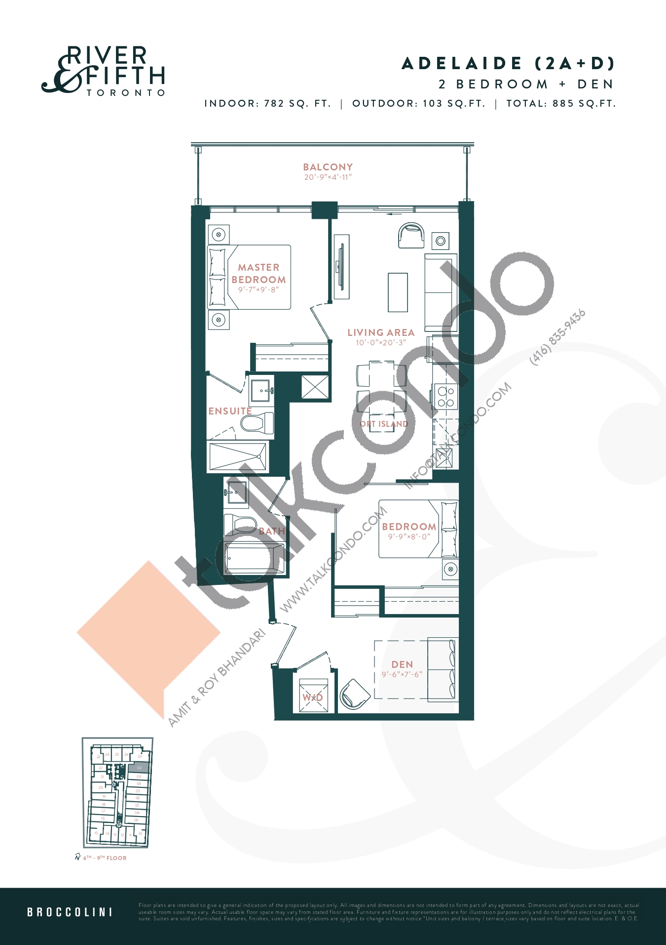 Adelaide (2A+D) Floor Plan at River & Fifth Condos - 782 sq.ft