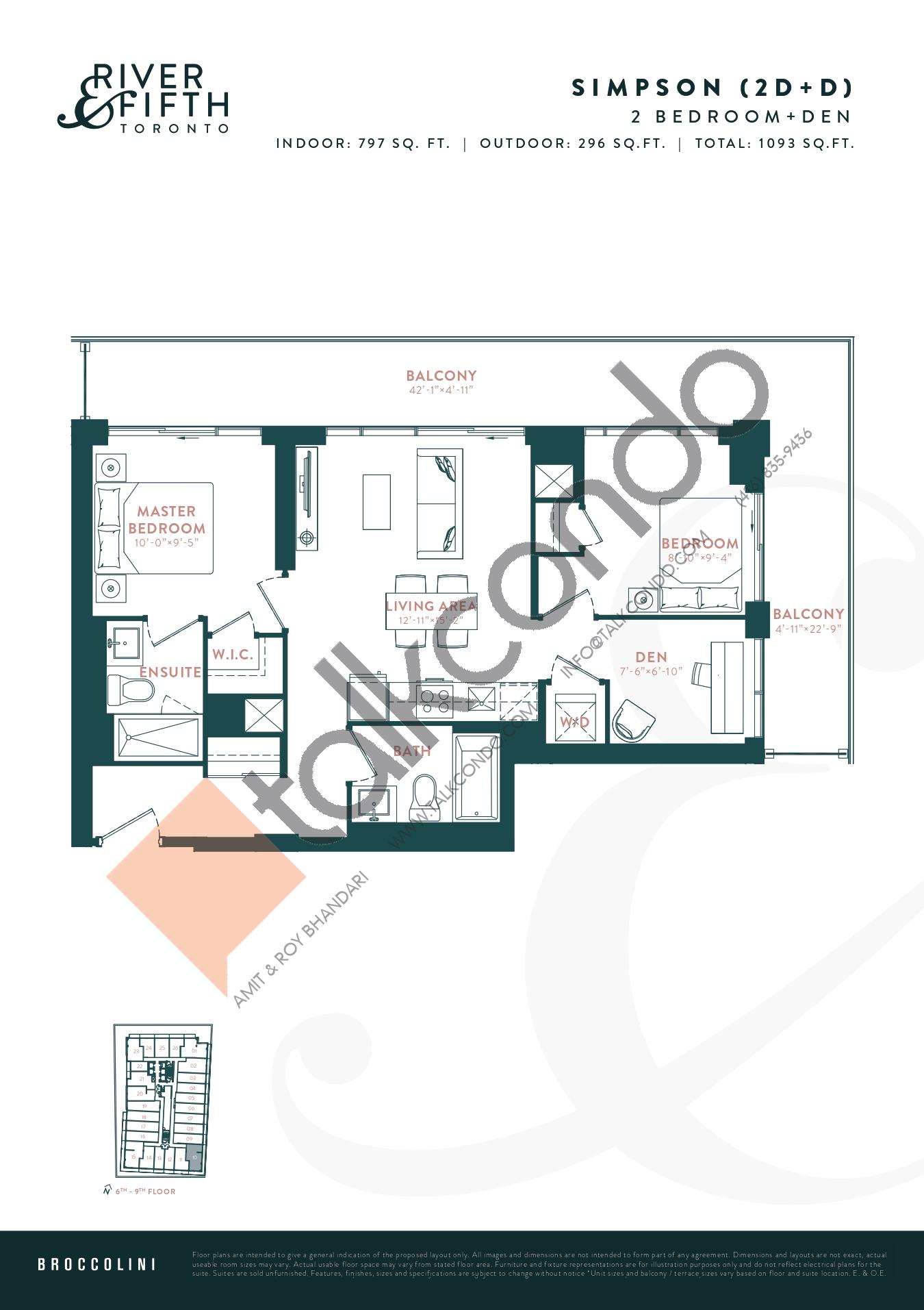 Simpson (2D+D) Floor Plan at River & Fifth Condos - 797 sq.ft
