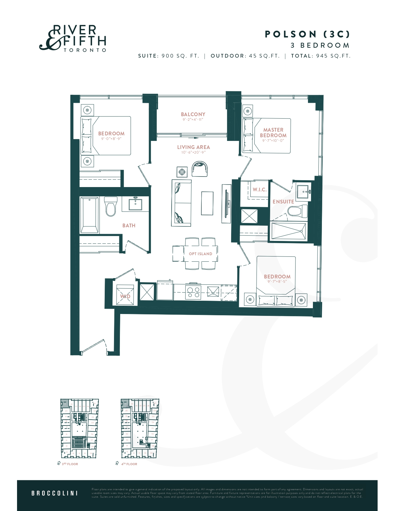 Polson (3C) Floor Plan at River & Fifth Condos - 900 sq.ft