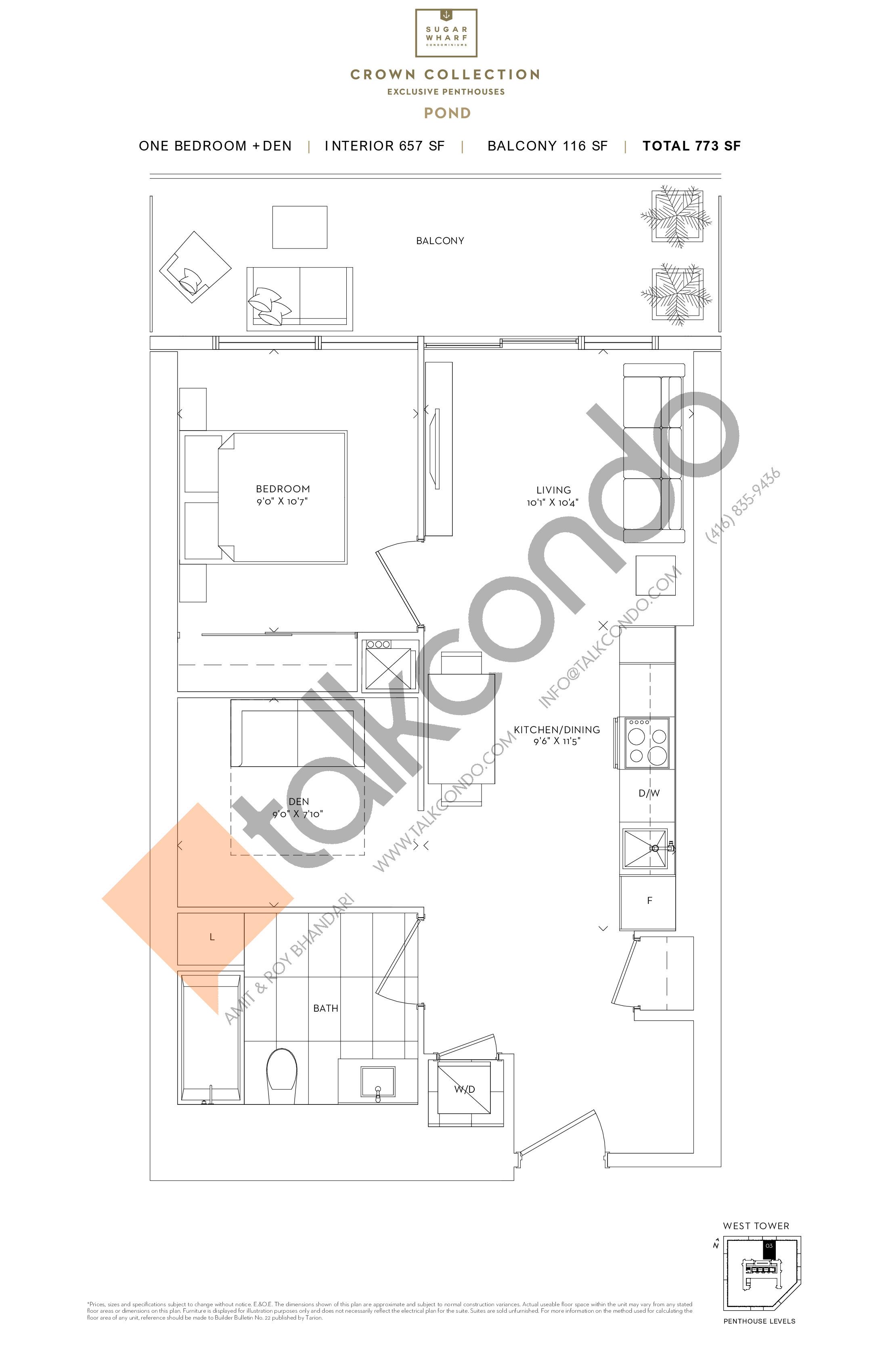 Pond Floor Plan at Sugar Wharf Condos West Tower - 657 sq.ft