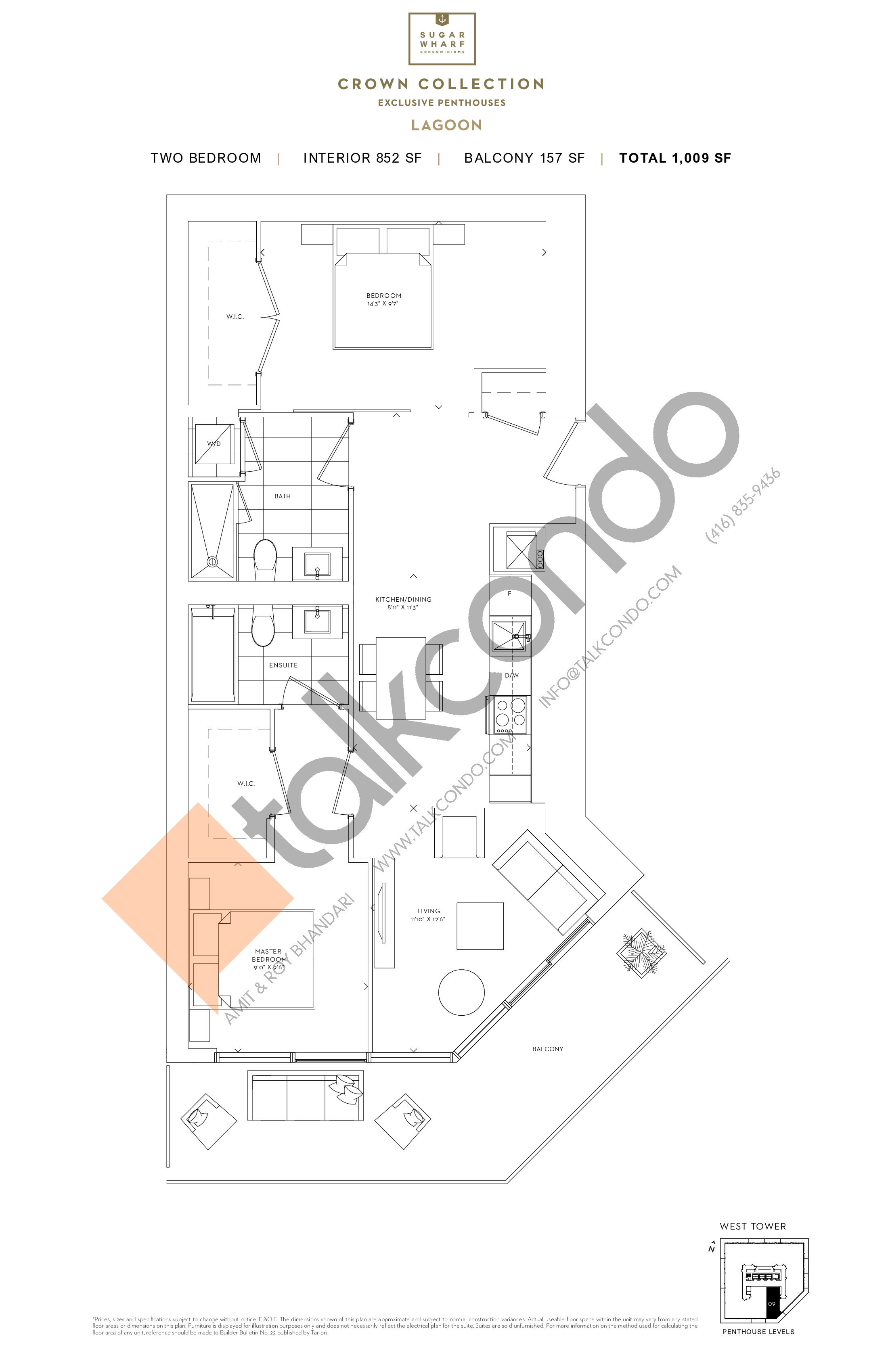 Lagoon Floor Plan at Sugar Wharf Condos West Tower - 852 sq.ft