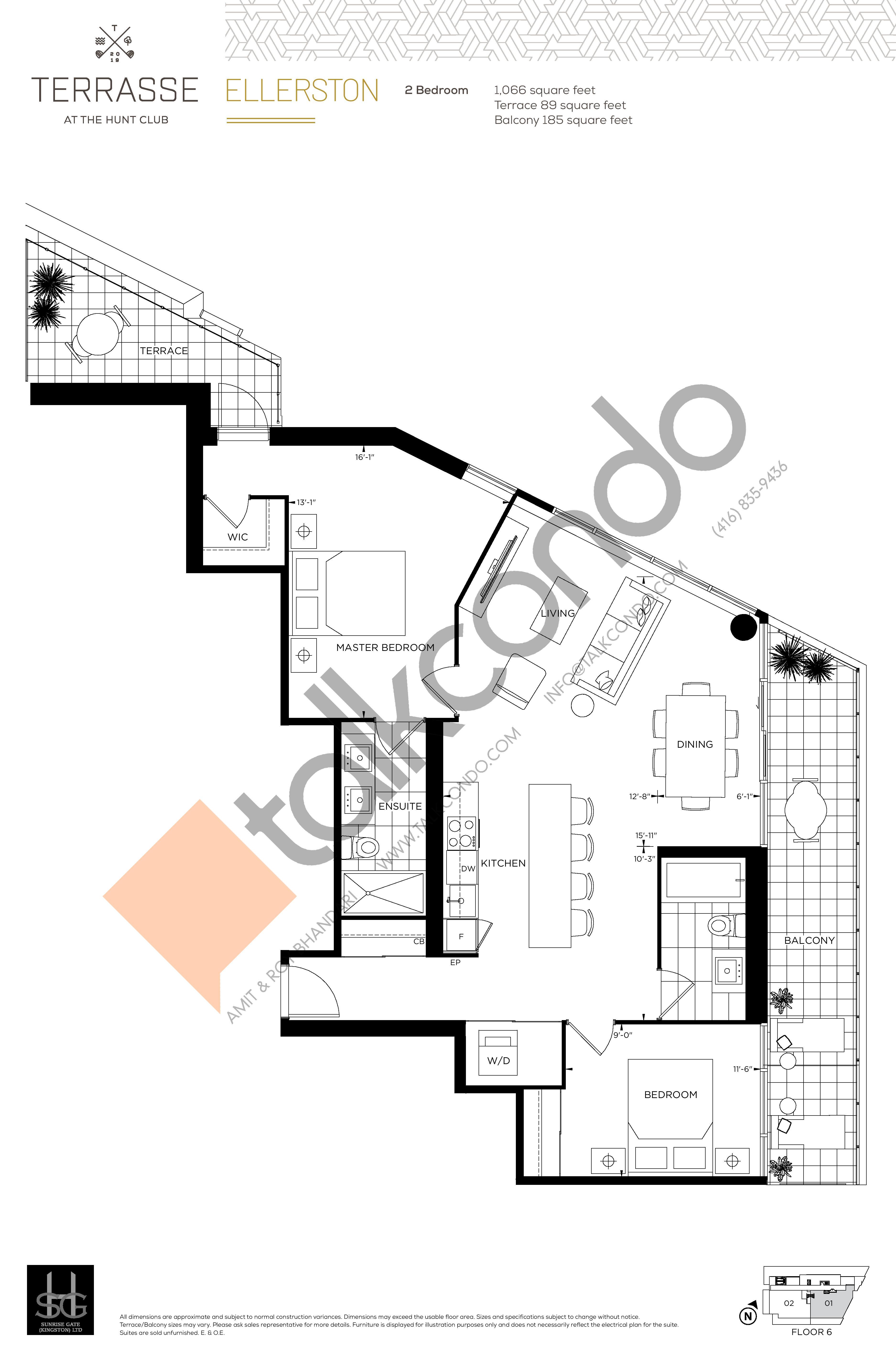 Ellerston Floor Plan at Terrasse Condos at The Hunt Club - 1066 sq.ft
