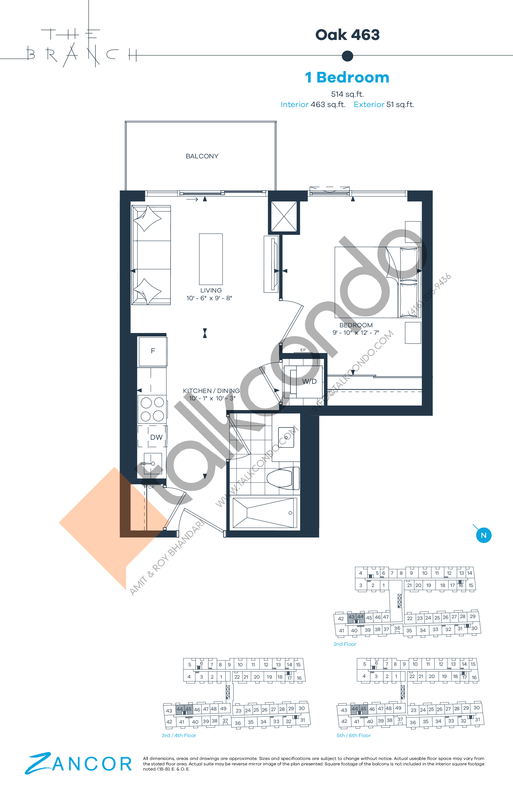 Oak 463 Floor Plan at The Branch Condos - 463 sq.ft