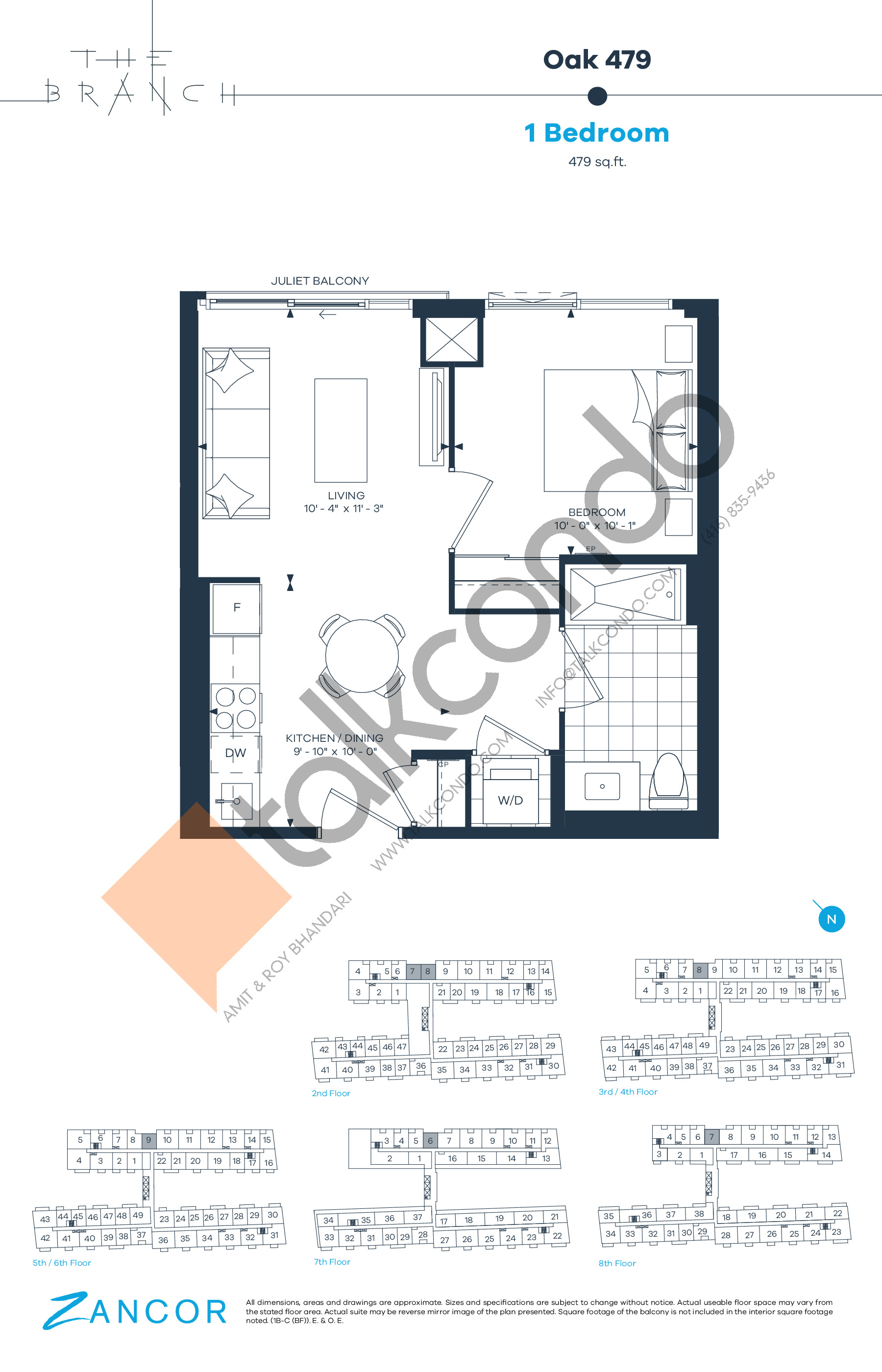 Oak 479 Floor Plan at The Branch Condos - 479 sq.ft
