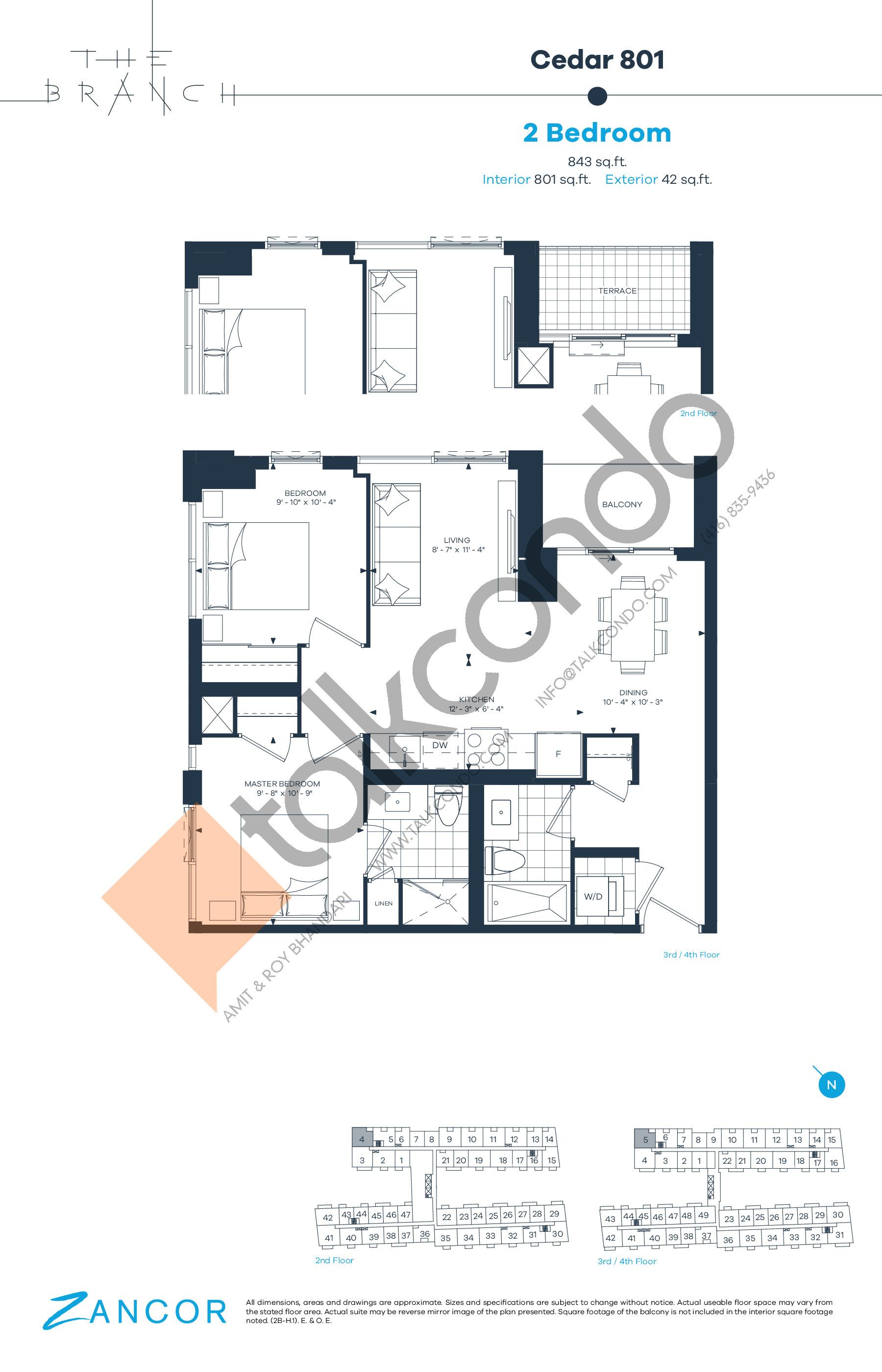 Cedar 801 Floor Plan at The Branch Condos - 801 sq.ft