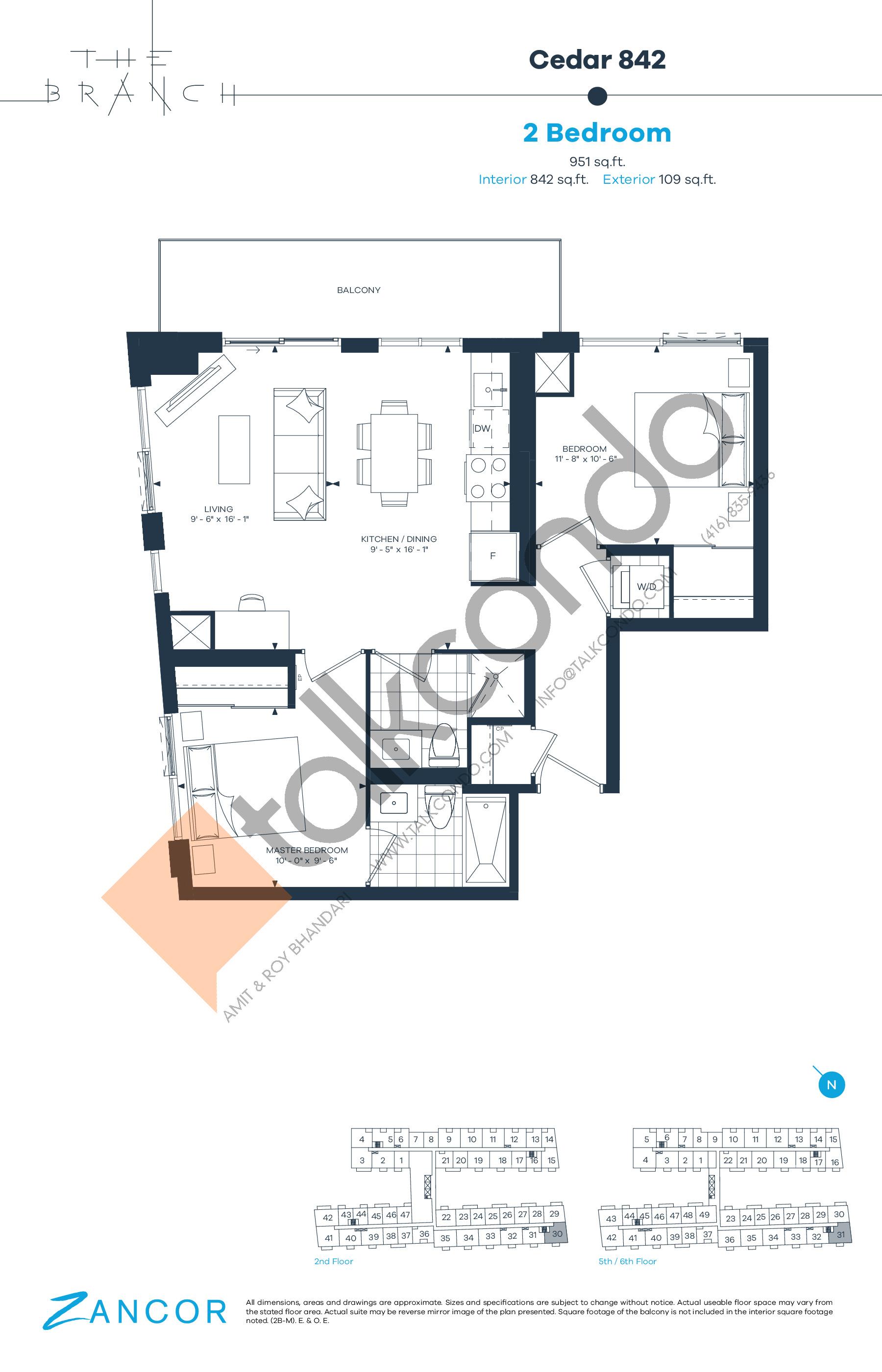 Cedar 842 Floor Plan at The Branch Condos - 842 sq.ft