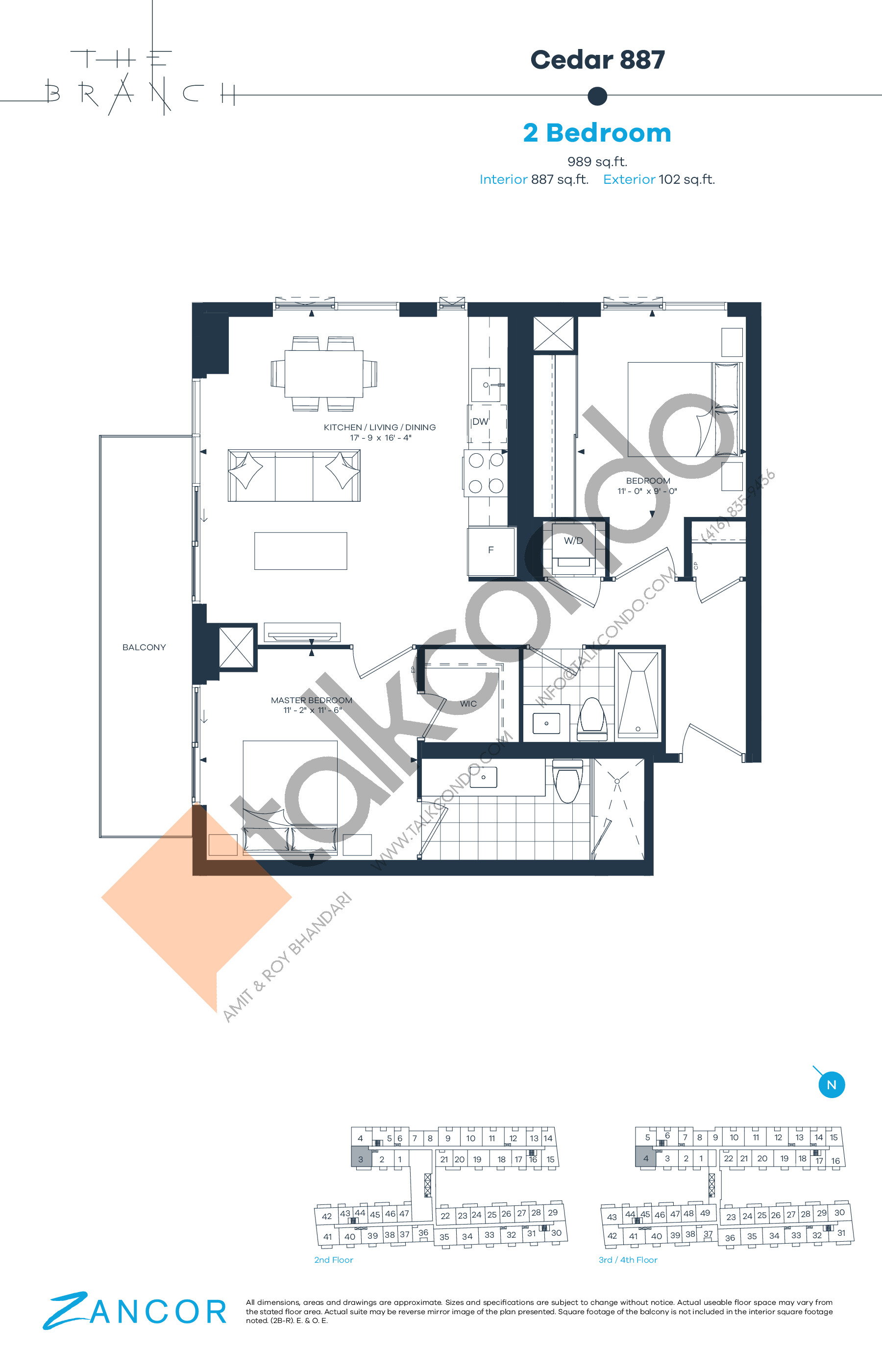 Cedar 887 Floor Plan at The Branch Condos - 887 sq.ft