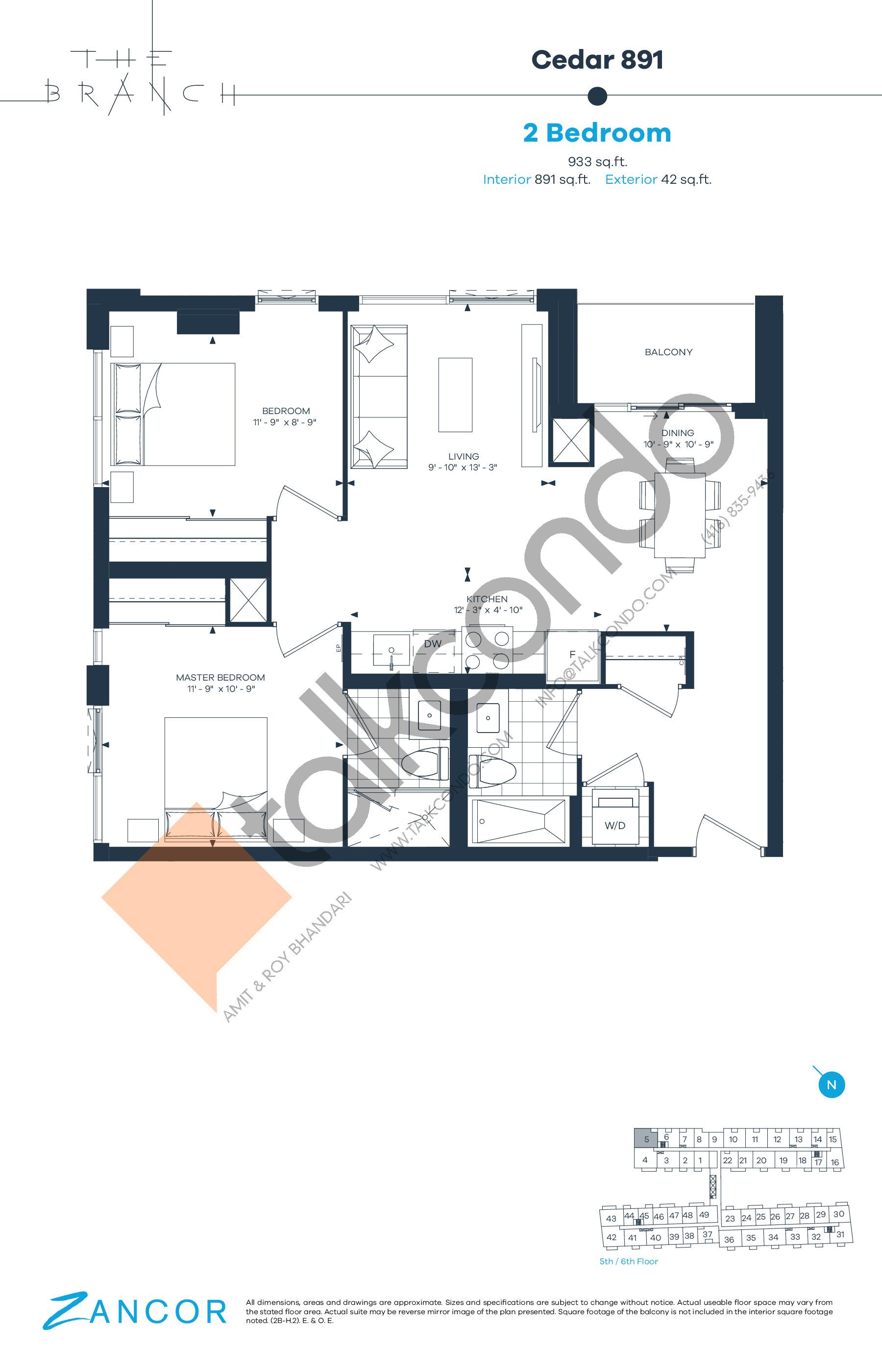 Cedar 891 Floor Plan at The Branch Condos - 891 sq.ft