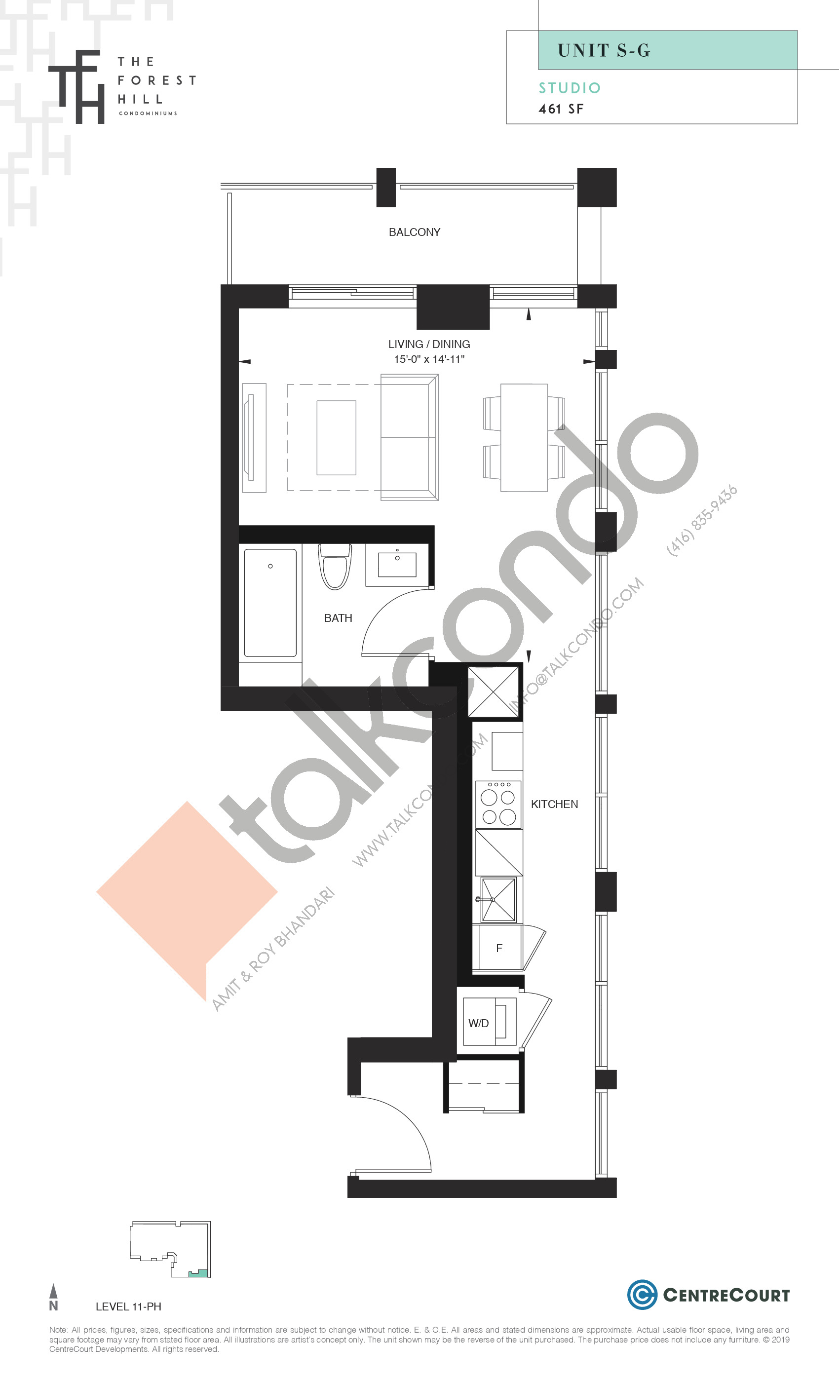 Unit S-G Floor Plan at The Forest Hill Condos - 461 sq.ft
