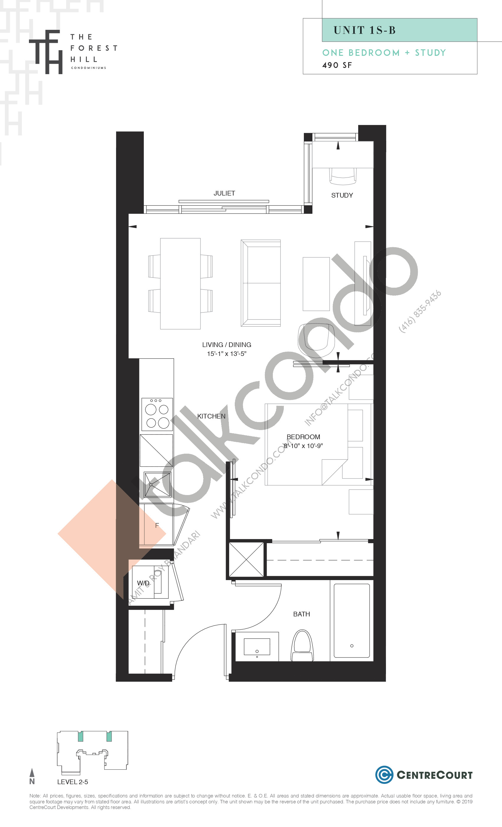 Unit 1S-B Floor Plan at The Forest Hill Condos - 490 sq.ft