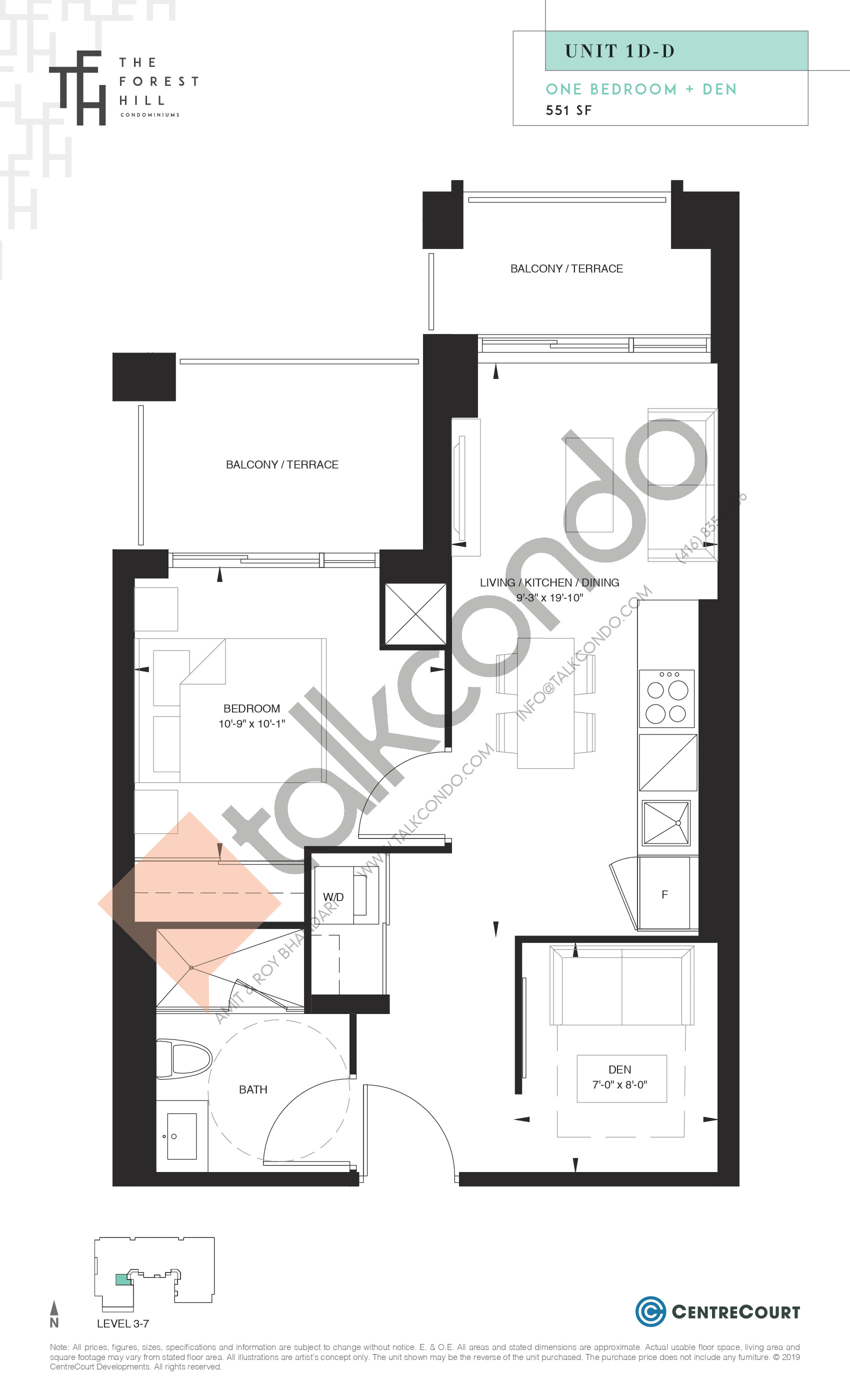 Unit 1D-D Floor Plan at The Forest Hill Condos - 551 sq.ft