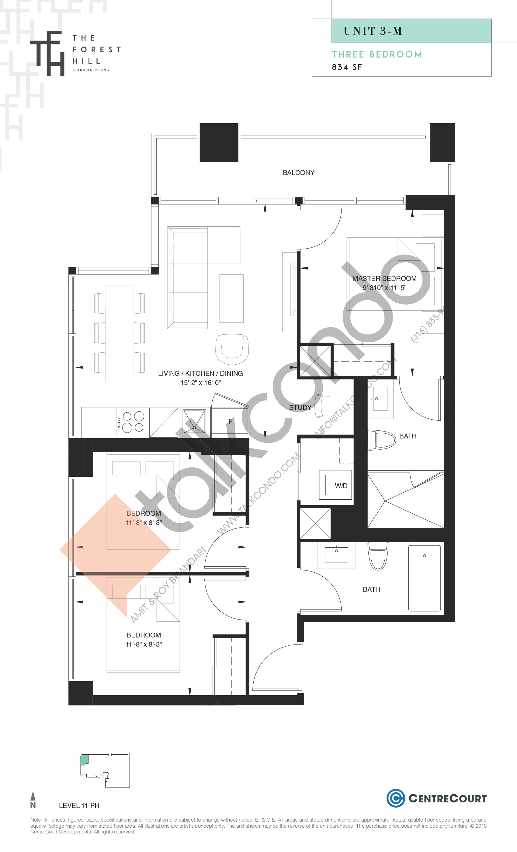 Unit 3-M Floor Plan at The Forest Hill Condos - 834 sq.ft