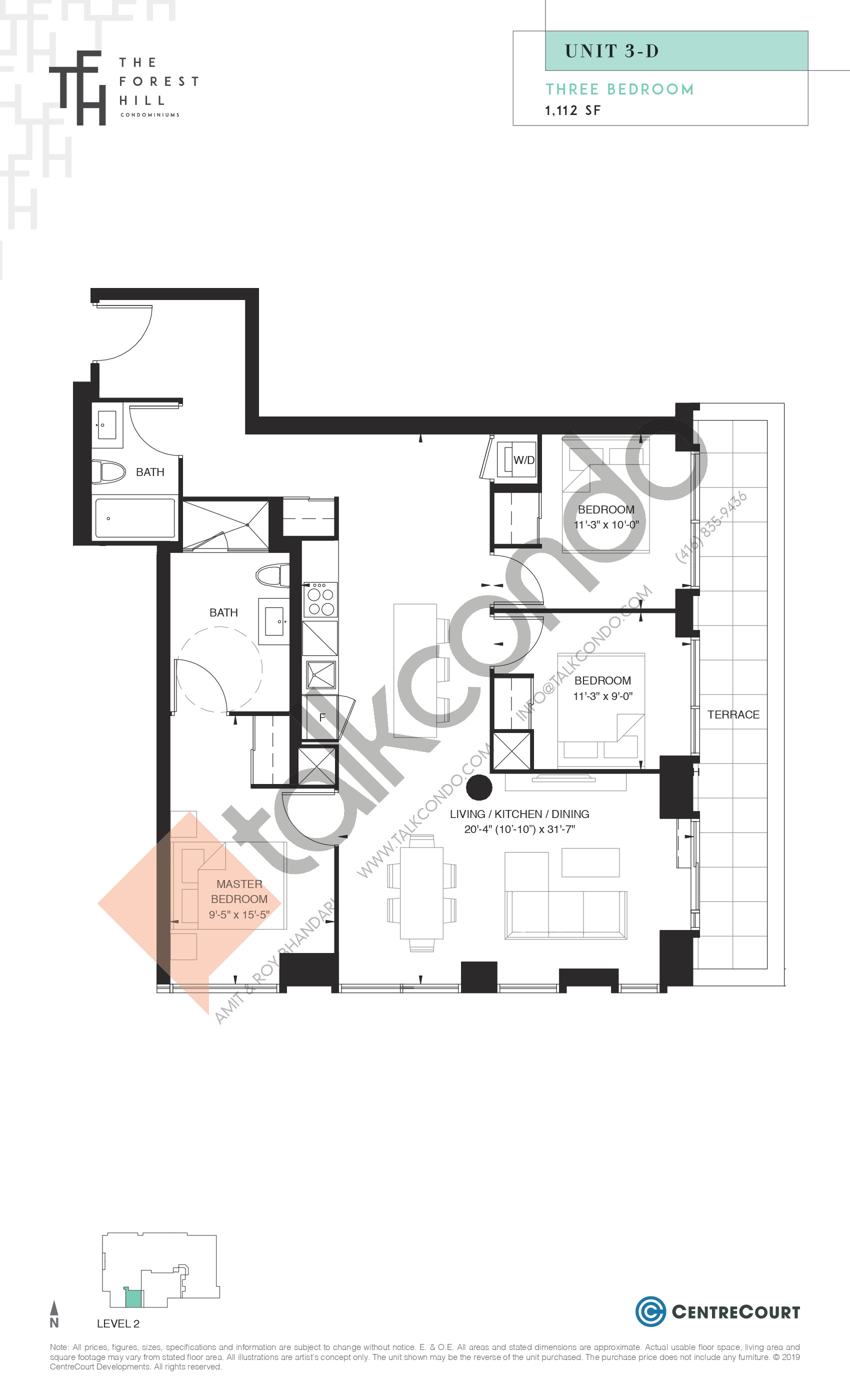 Unit 3-D Floor Plan at The Forest Hill Condos - 1112 sq.ft
