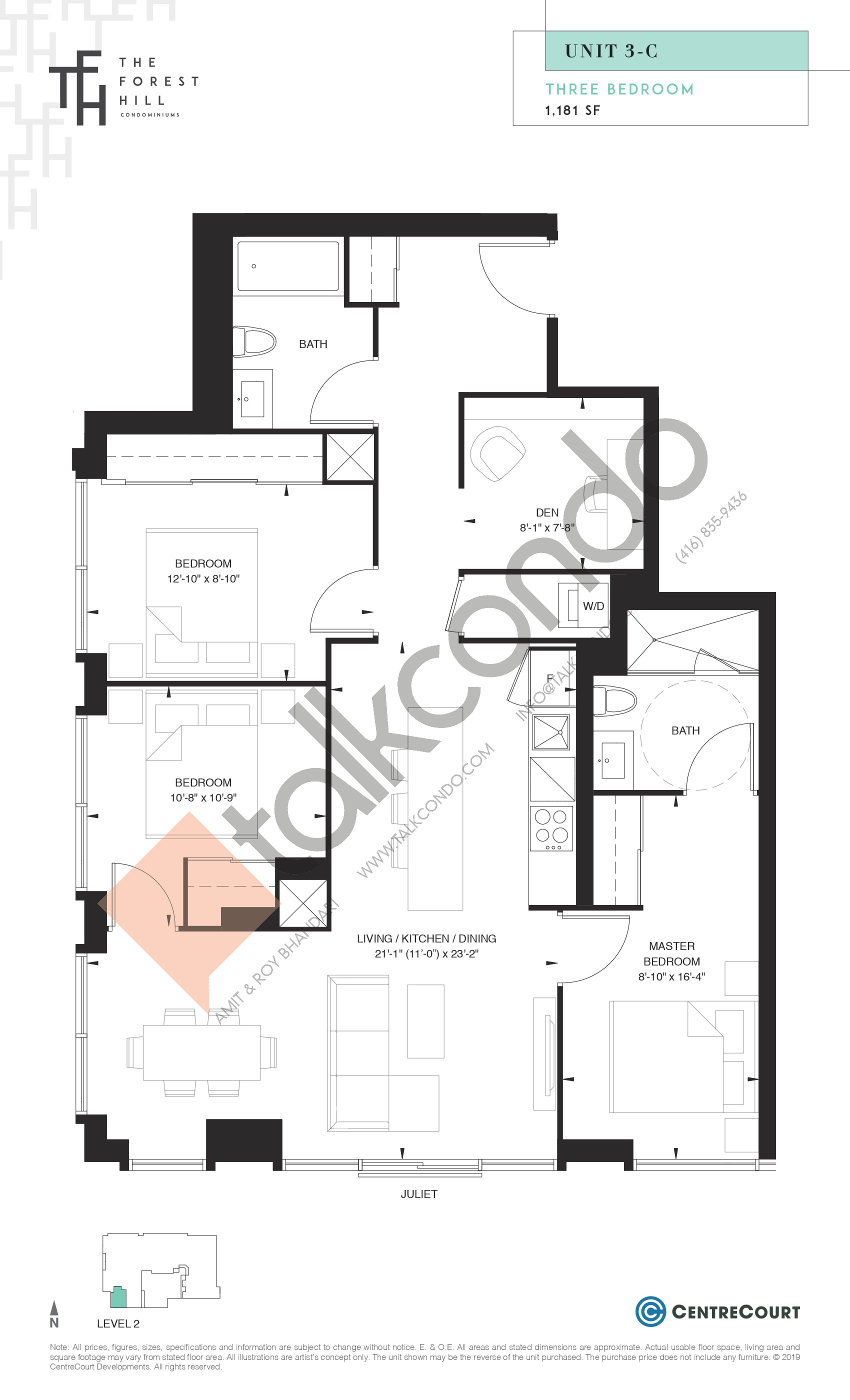 Unit 3-C Floor Plan at The Forest Hill Condos - 1181 sq.ft