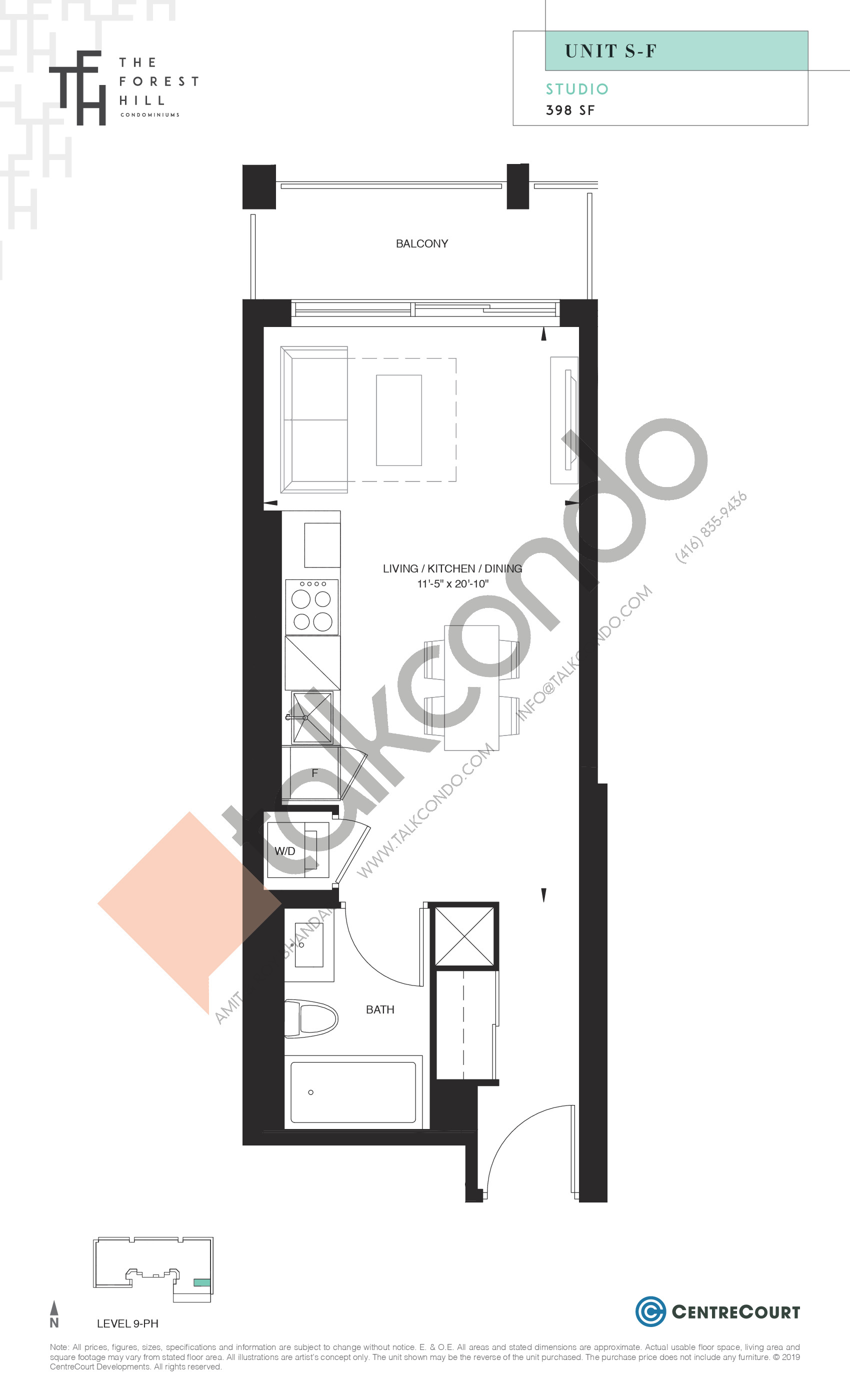 Unit S-F Floor Plan at The Forest Hill Condos - 398 sq.ft