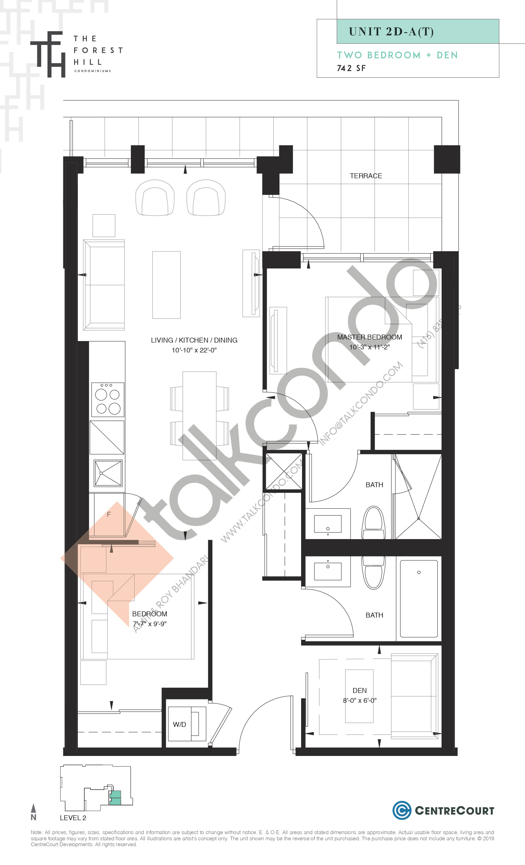 Unit 2D-A(T) Floor Plan at The Forest Hill Condos - 742 sq.ft