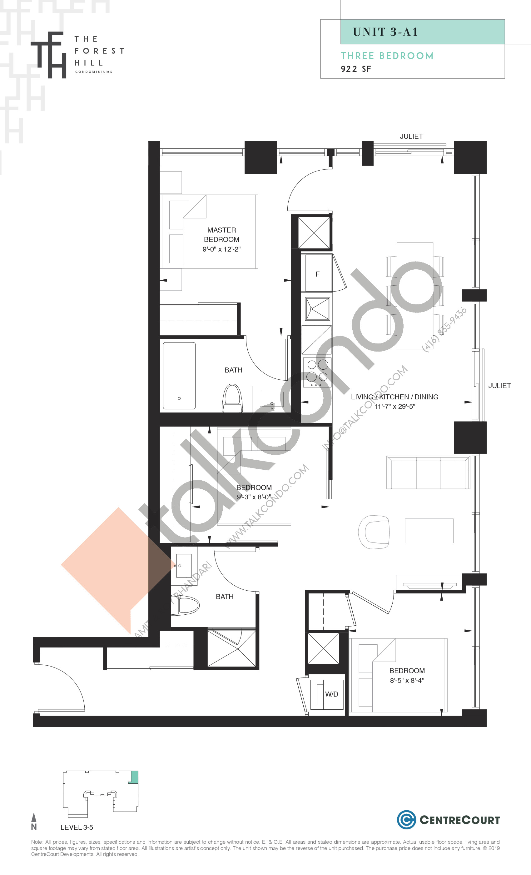Unit 3-A1 Floor Plan at The Forest Hill Condos - 922 sq.ft
