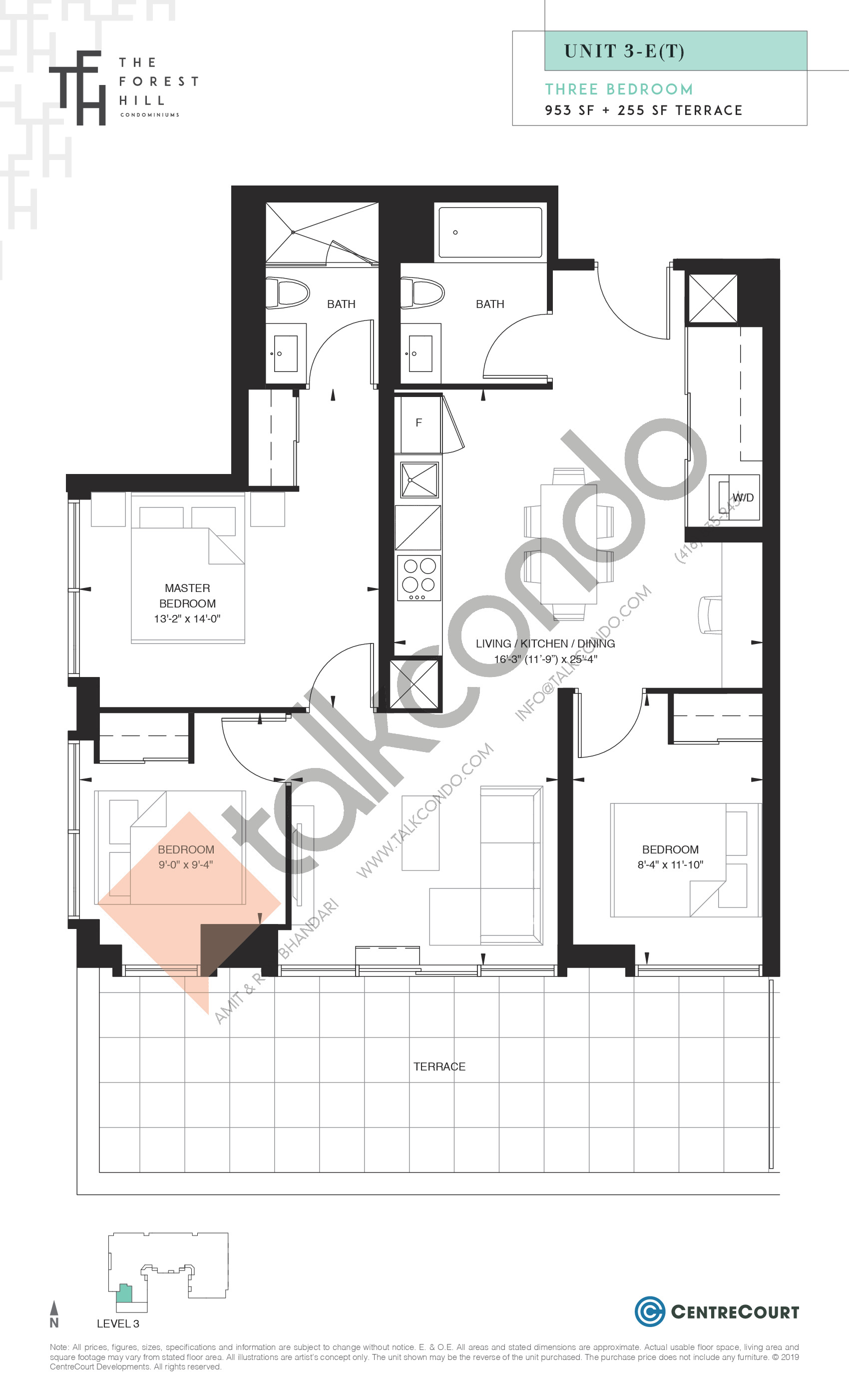 Unit 3-E(T) Floor Plan at The Forest Hill Condos - 953 sq.ft