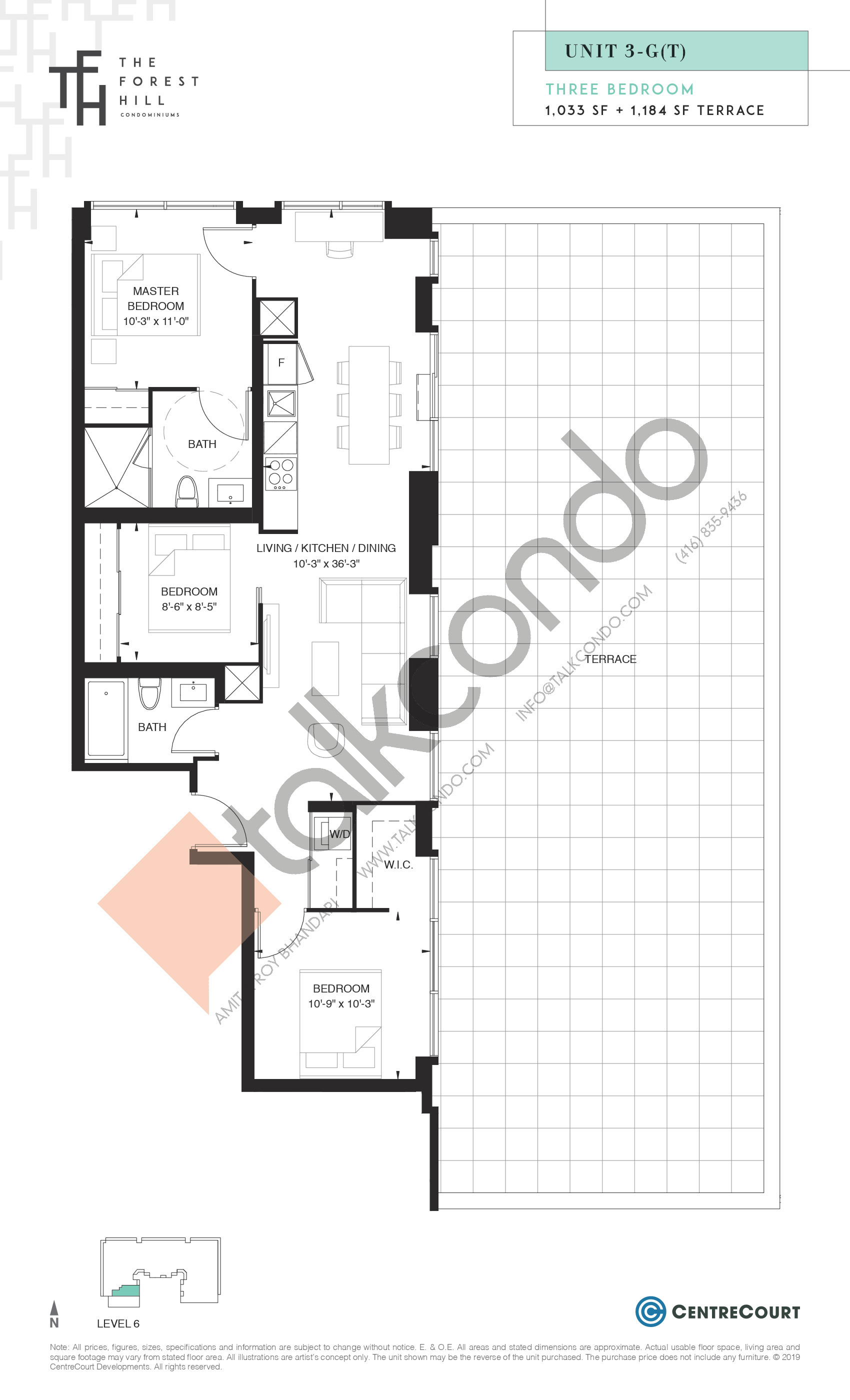 Unit 3-G(T) Floor Plan at The Forest Hill Condos - 1033 sq.ft