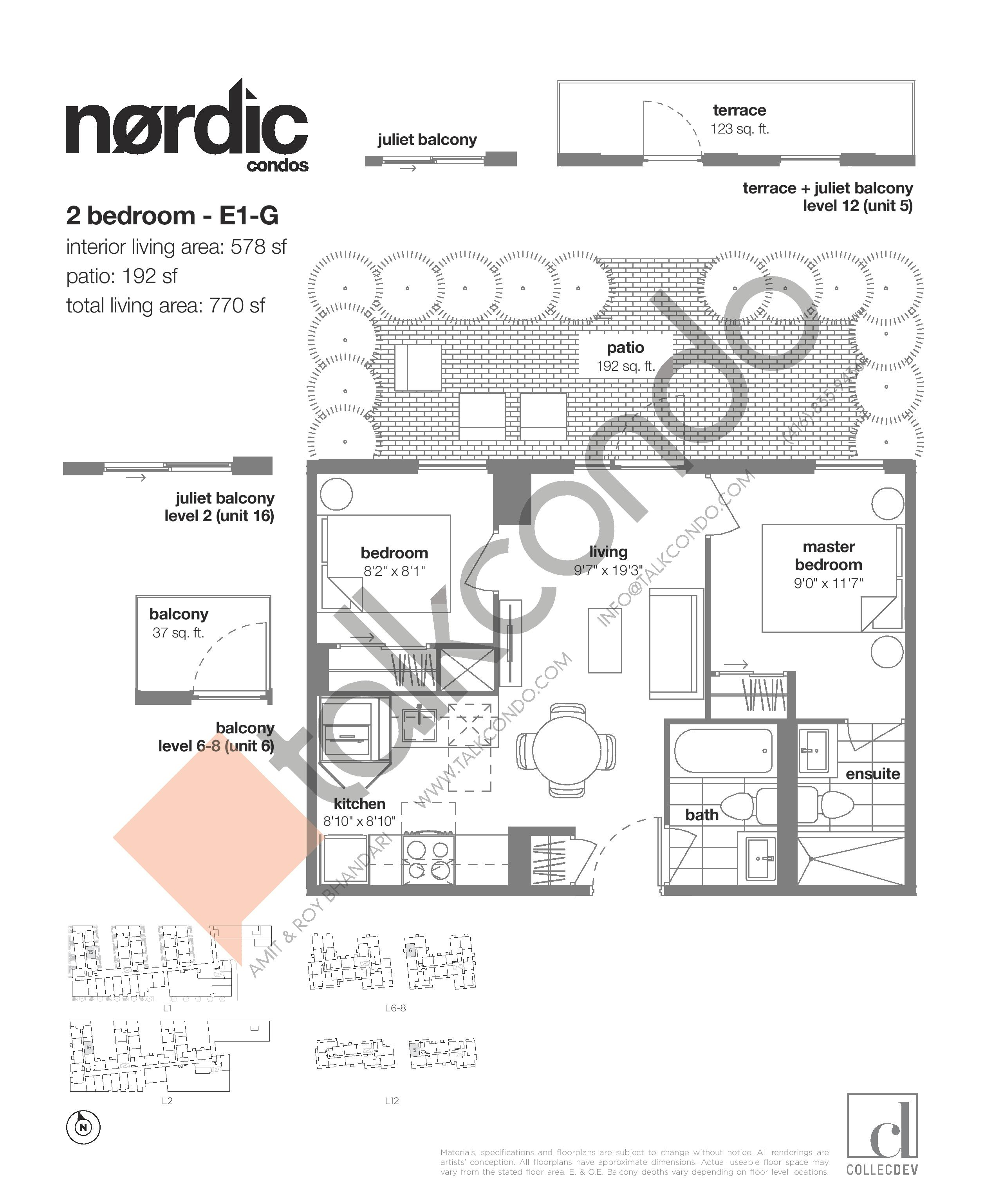 E1-G Floor Plan at Nordic Condos - 578 sq.ft