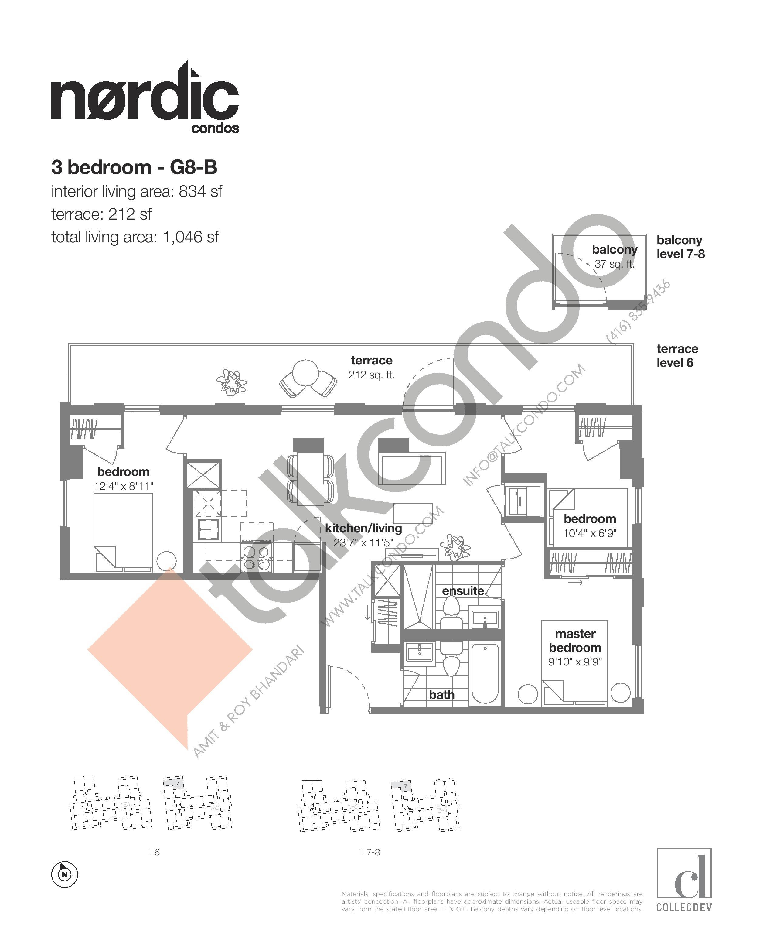G8-B Floor Plan at Nordic Condos - 834 sq.ft
