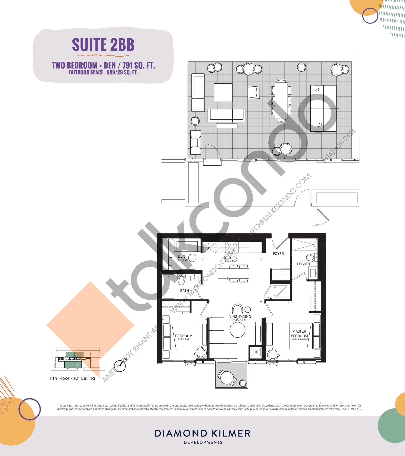 2BB Floor Plan at Reunion Crossing Condos & Urban Towns - 791 sq.ft