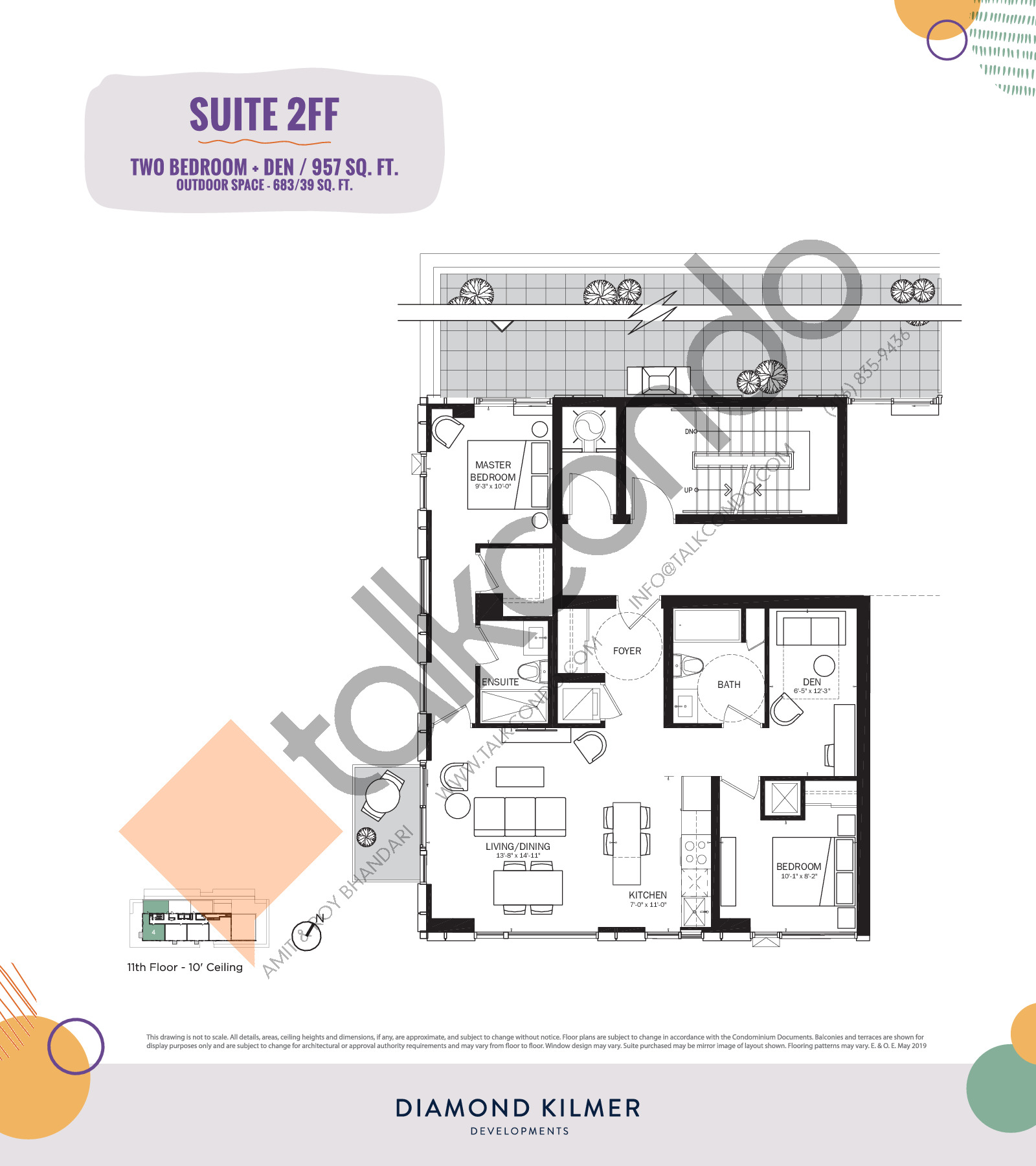 2FF Floor Plan at Reunion Crossing Condos & Urban Towns - 957 sq.ft