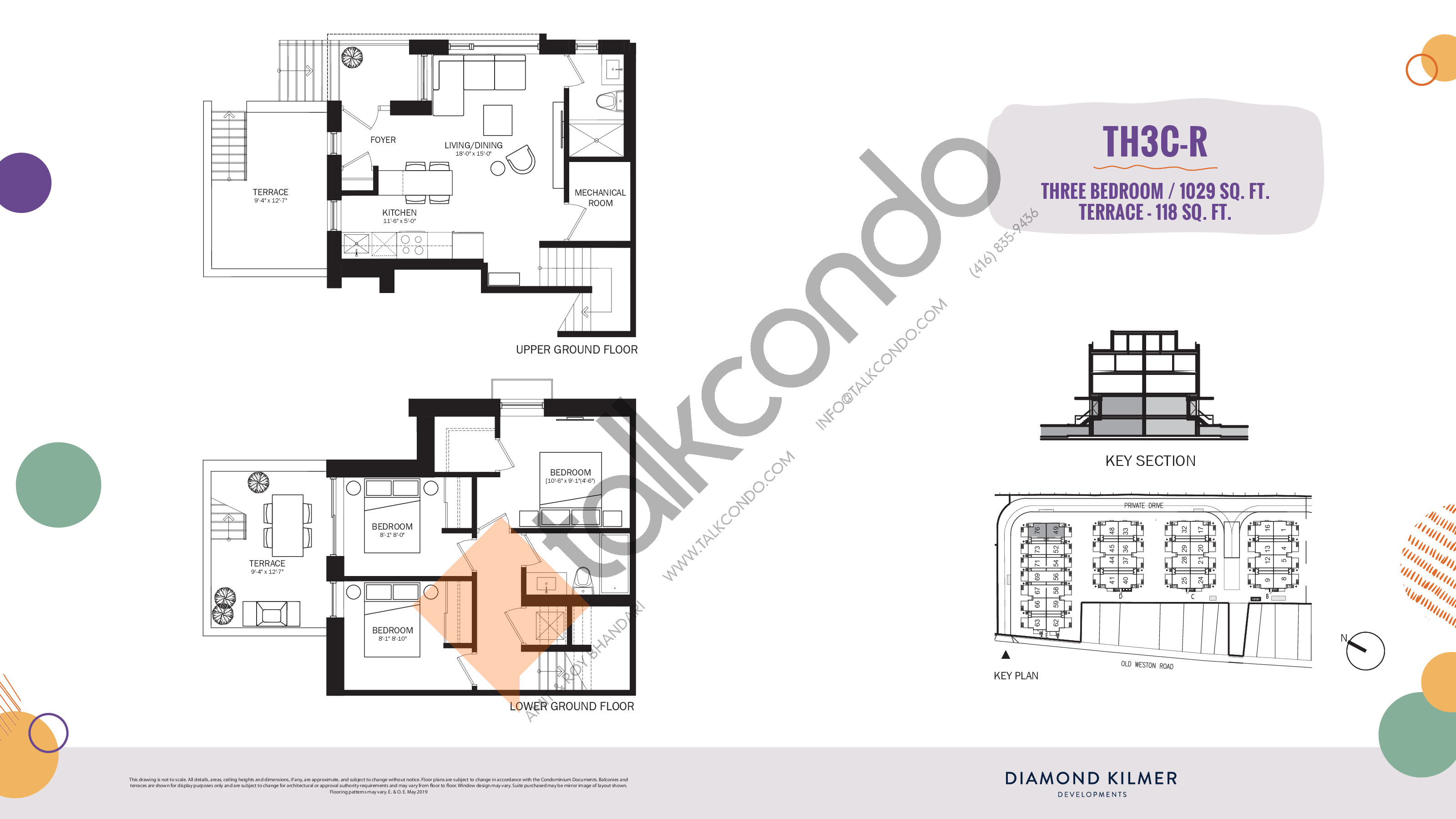 TH3C-R Floor Plan at Reunion Crossing Condos & Urban Towns - 1029 sq.ft