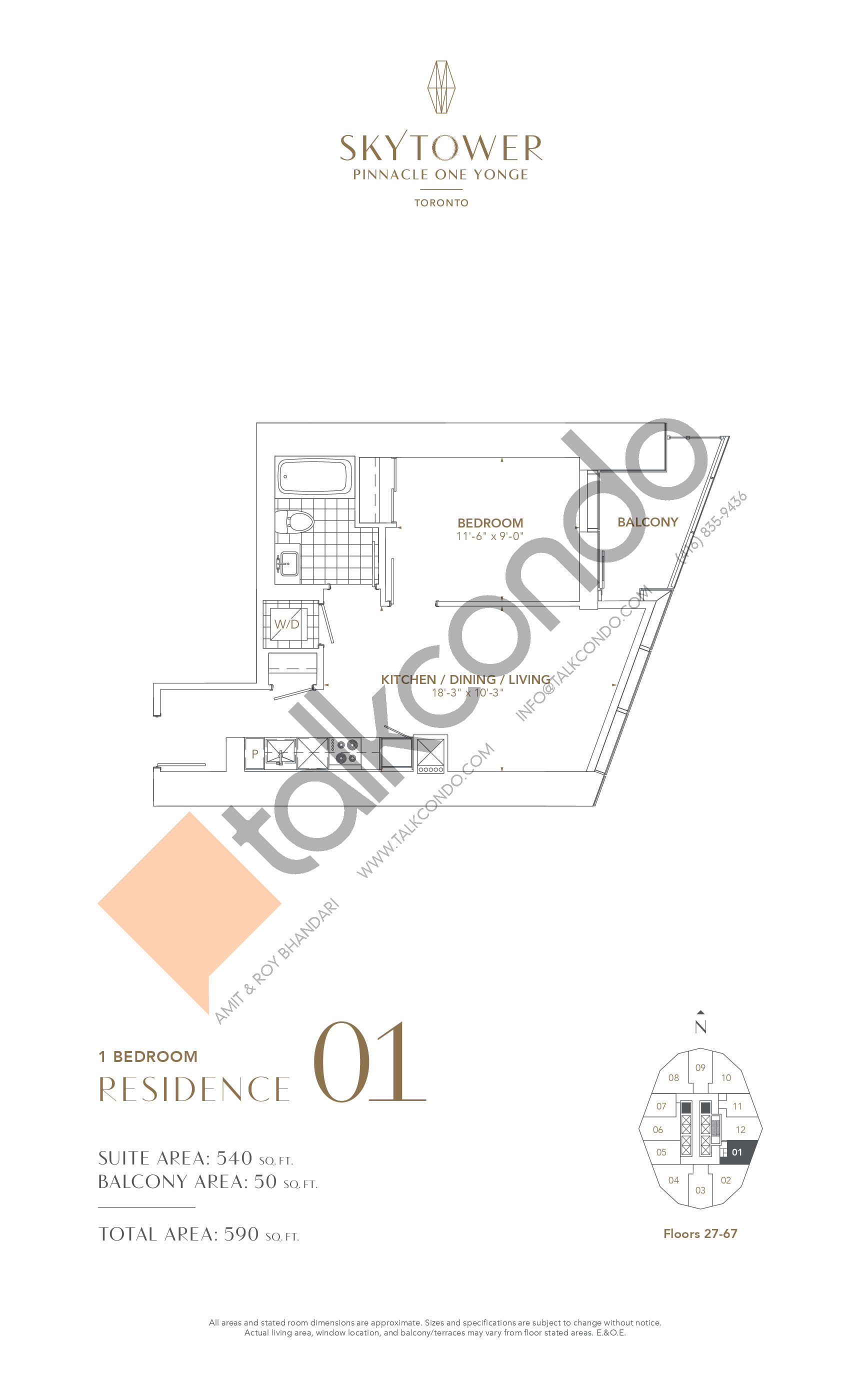 Residence 01 Floor Plan at SkyTower at Pinnacle One Yonge - 540 sq.ft