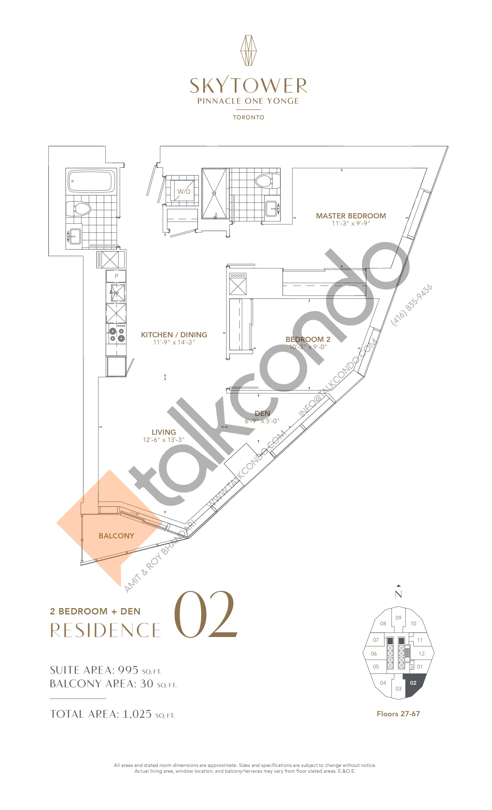 Residence 02 Floor Plan at SkyTower at Pinnacle One Yonge - 995 sq.ft