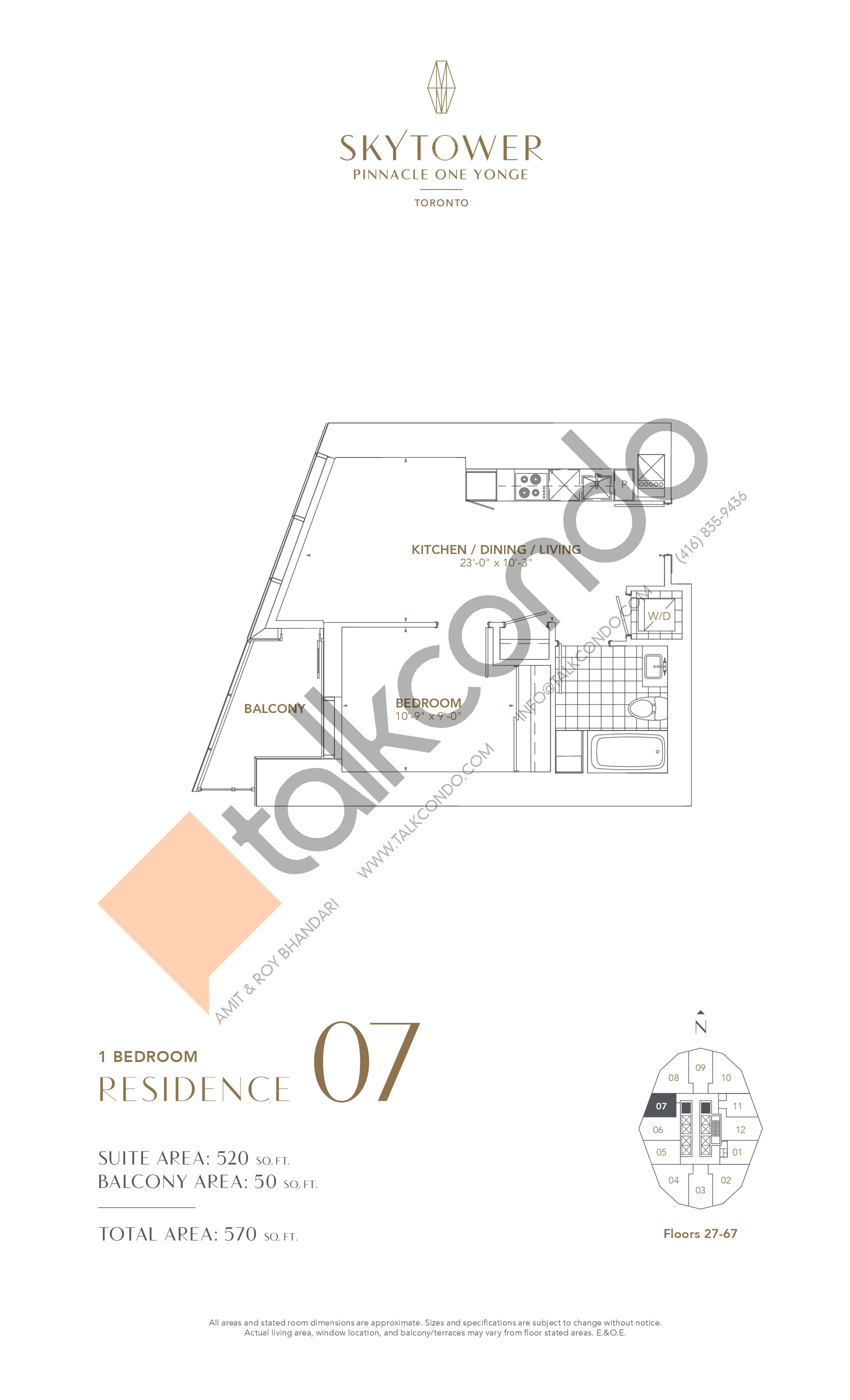 Residence 07 Floor Plan at SkyTower at Pinnacle One Yonge - 520 sq.ft