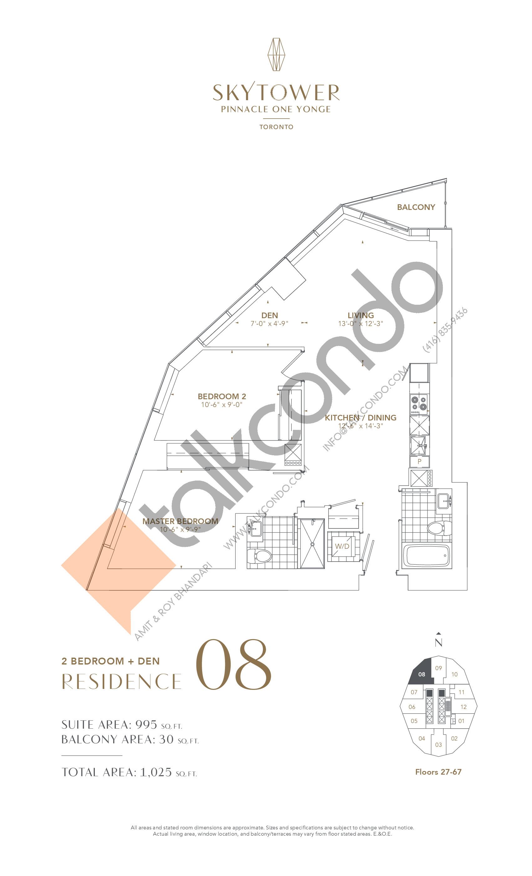 Residence 08 Floor Plan at SkyTower at Pinnacle One Yonge - 995 sq.ft