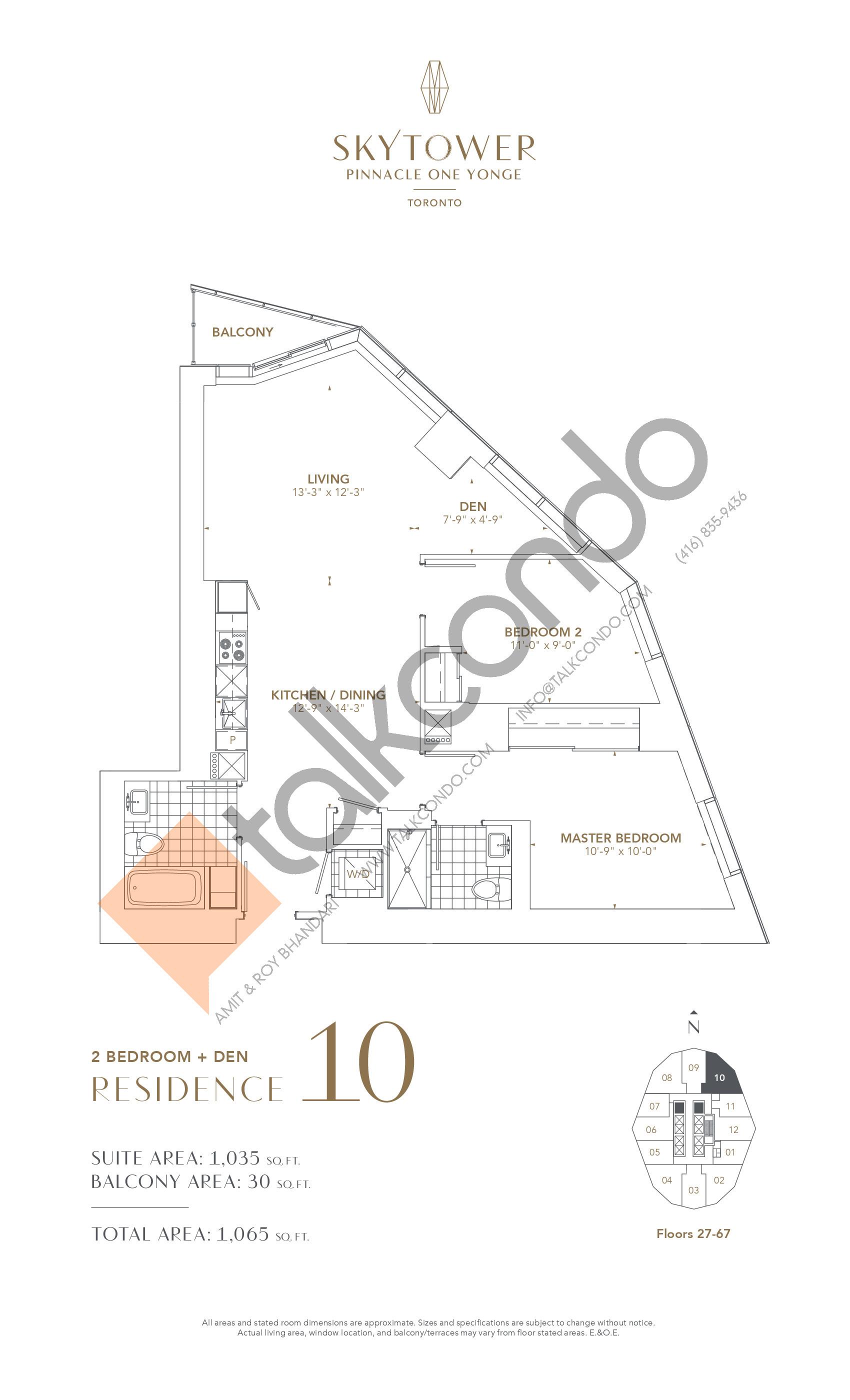 Residence 10 Floor Plan at SkyTower at Pinnacle One Yonge - 1035 sq.ft