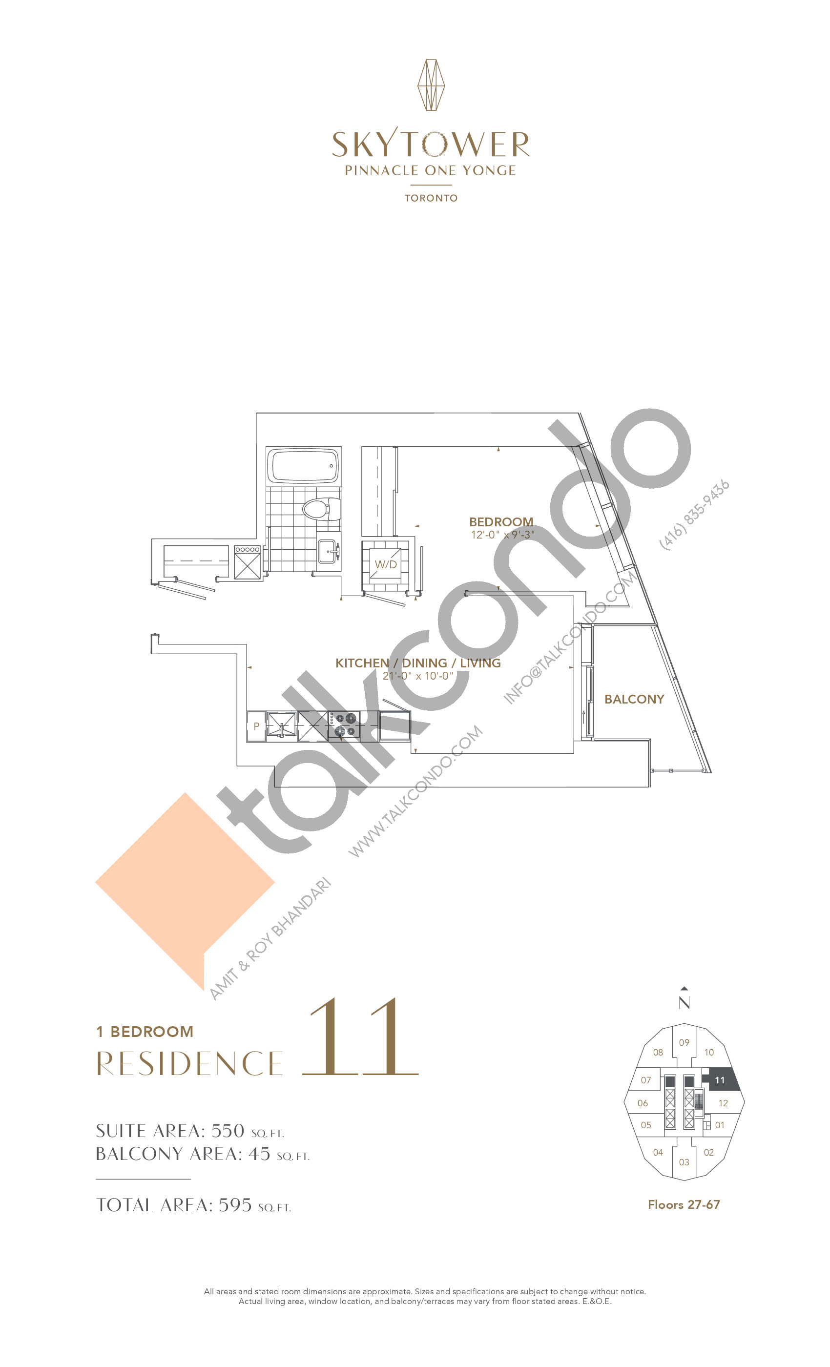 Residence 11 Floor Plan at SkyTower at Pinnacle One Yonge - 550 sq.ft