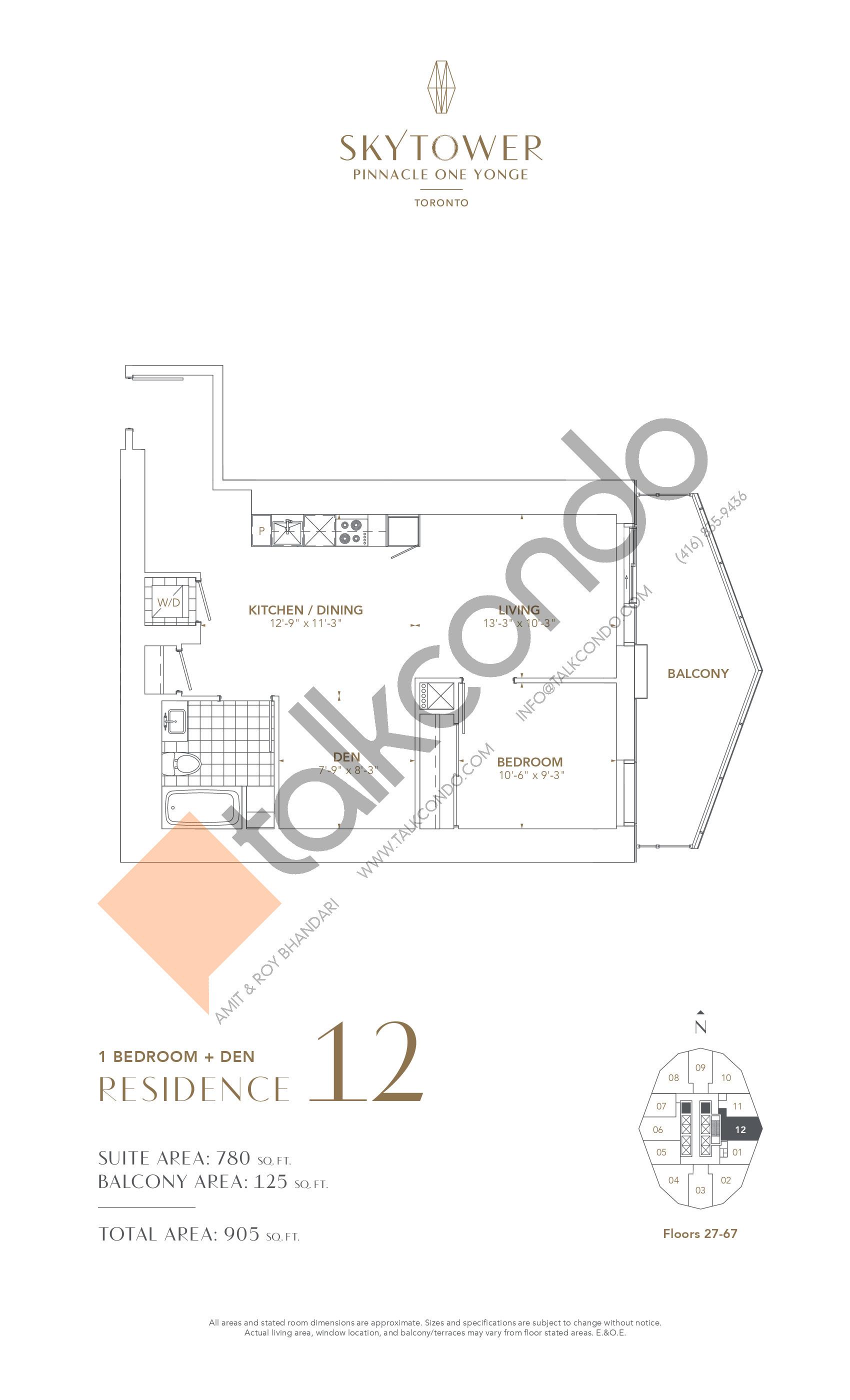 Residence 12 Floor Plan at SkyTower at Pinnacle One Yonge - 780 sq.ft