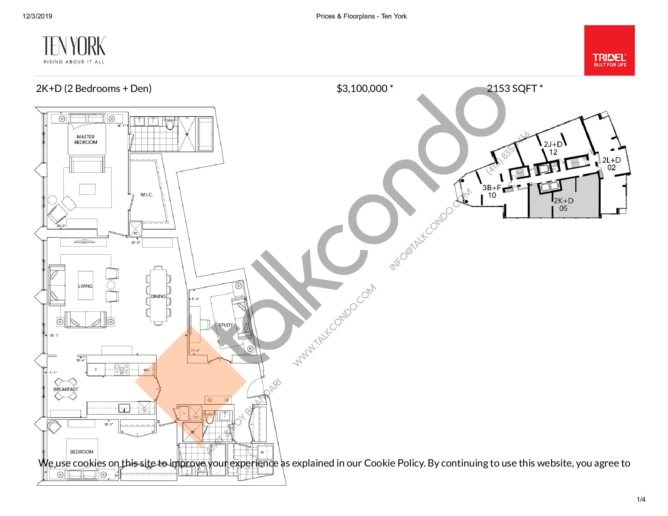 2K+D Floor Plan at Ten York Condos - 2153 sq.ft
