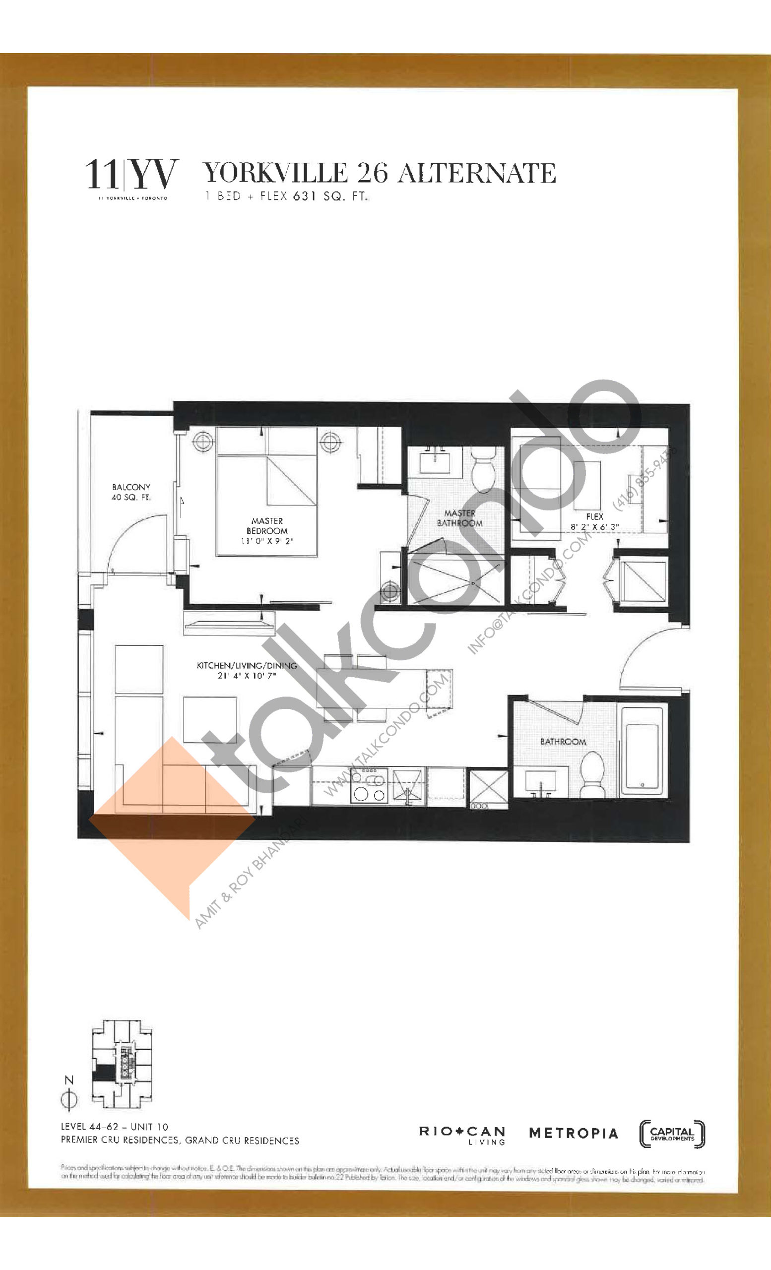 Yorkville 26 Alternate Floor Plan at 11YV Condos - 631 sq.ft