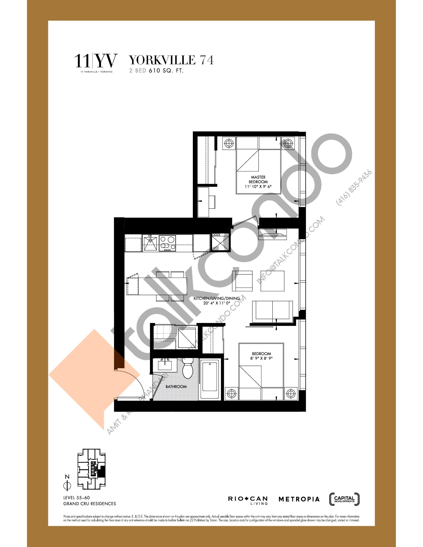 Yorkville 74 Floor Plan at 11YV Condos - 610 sq.ft