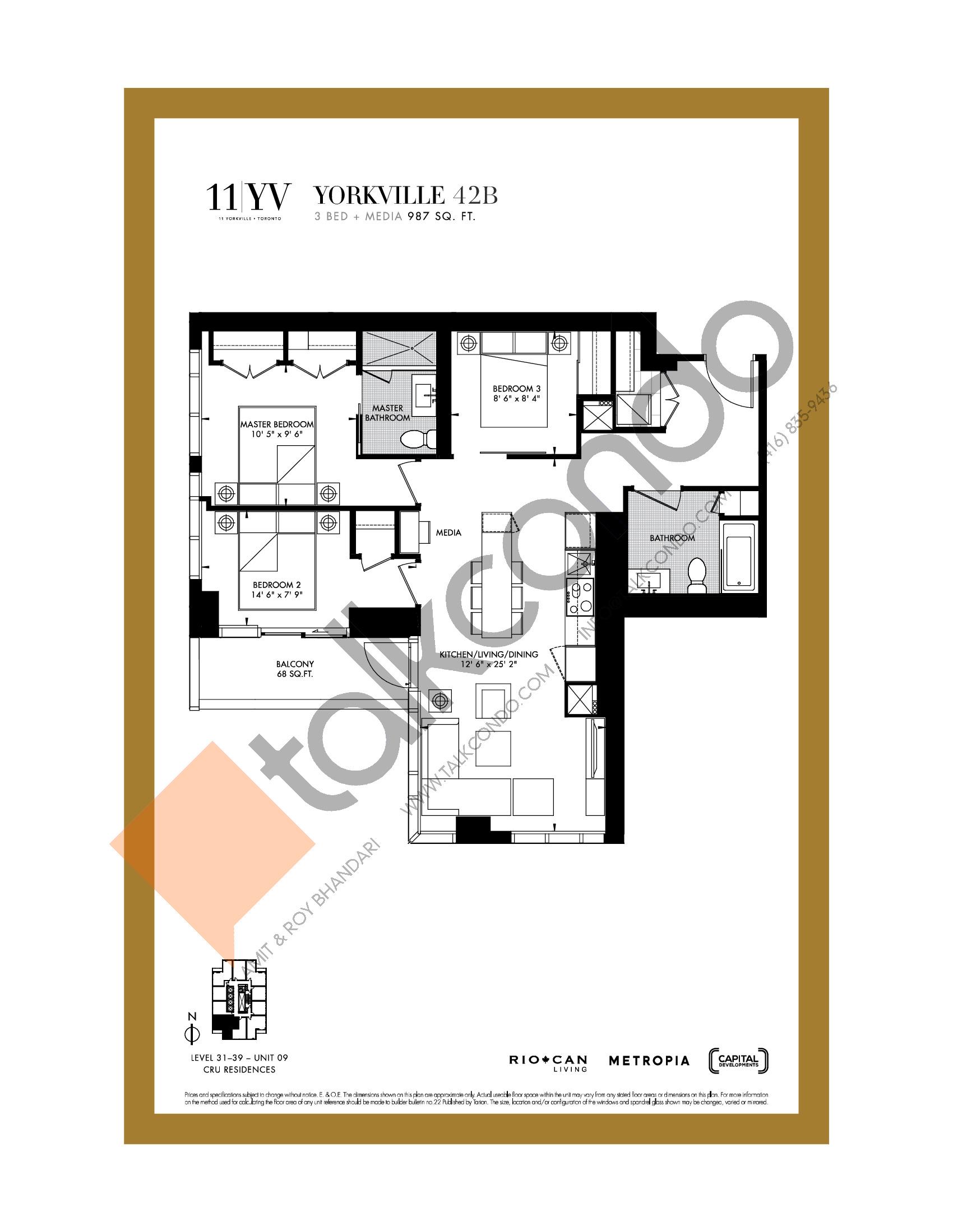 Yorkville 42B Floor Plan at 11YV Condos - 987 sq.ft