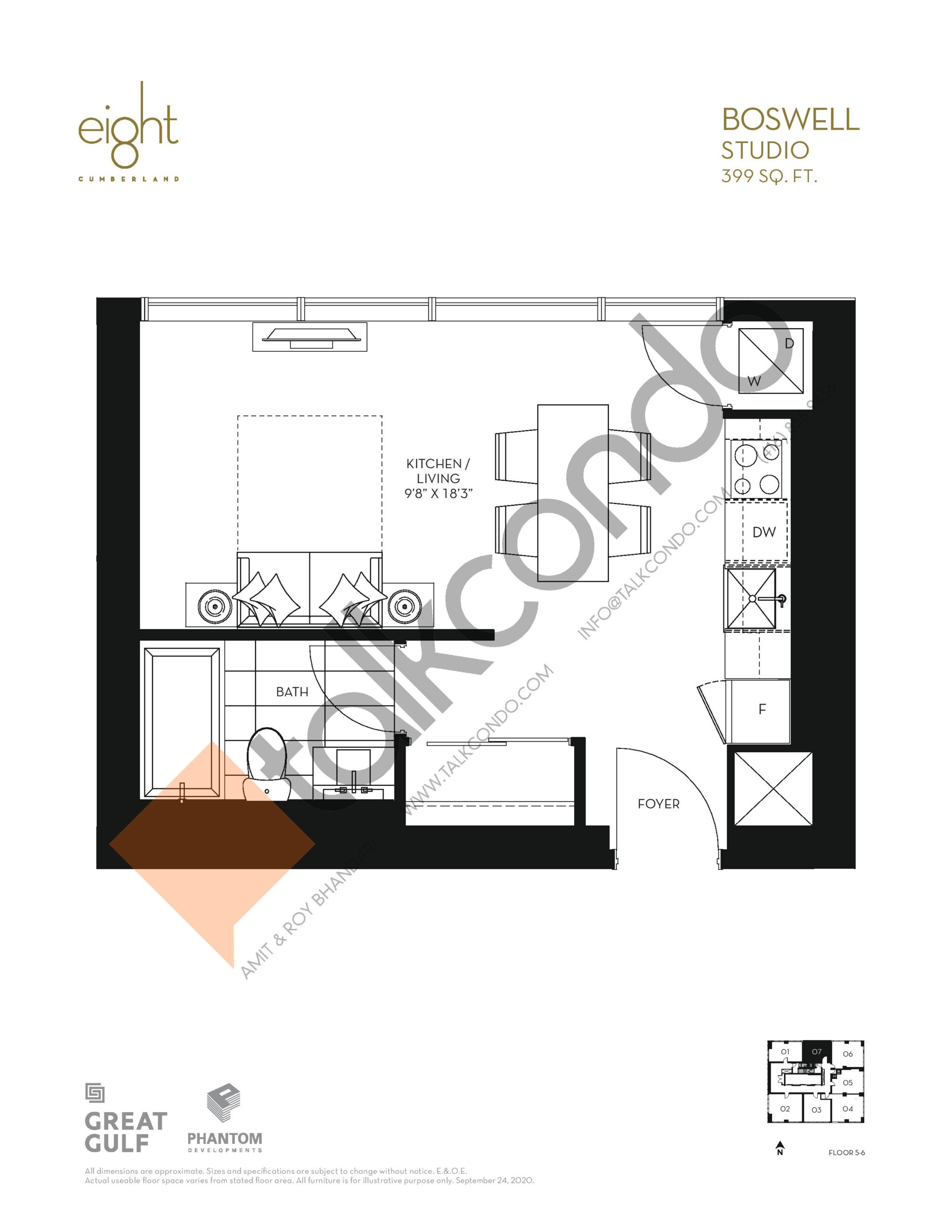 Boswell Floor Plan at 8 Cumberland Condos - 399 sq.ft