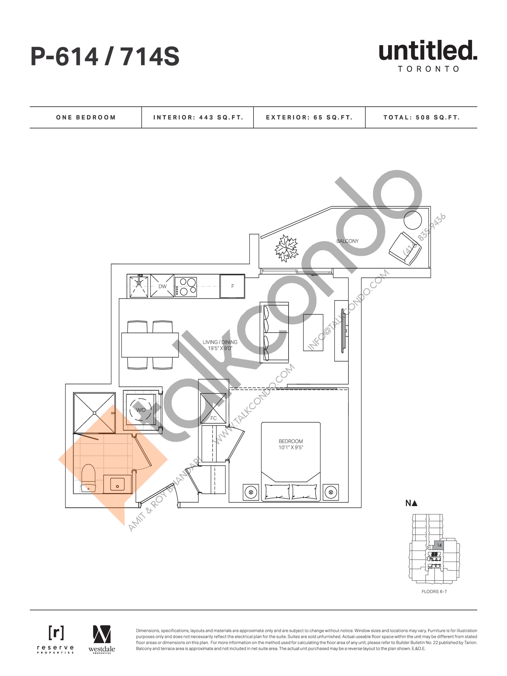 P-614 / 714S Floor Plan at Untitled Toronto Condos - 443 sq.ft